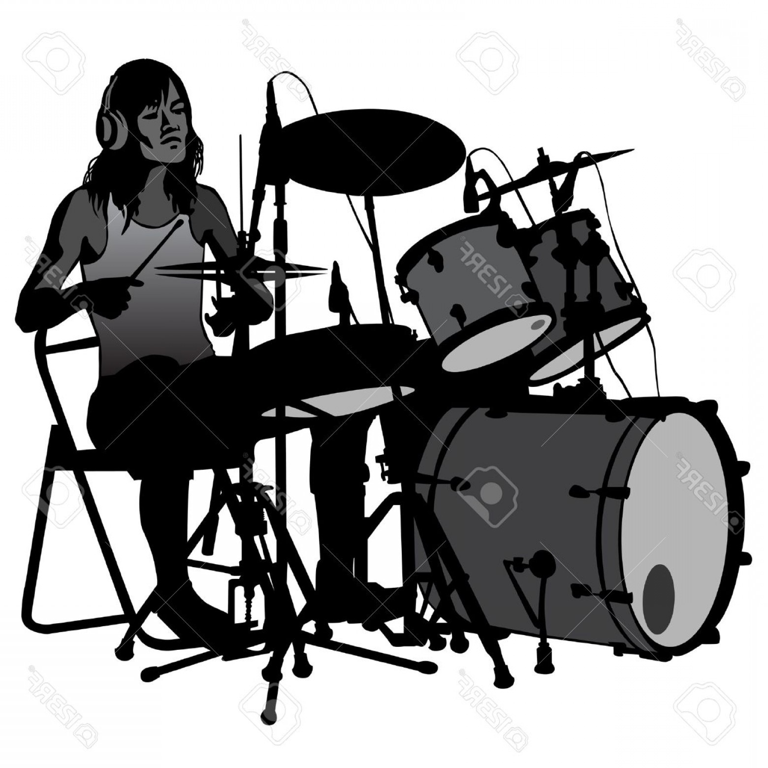 Drum Vector Art: Photostock Vector Drummer Beating The Drums On Stage Drum Set Silhouette Vector