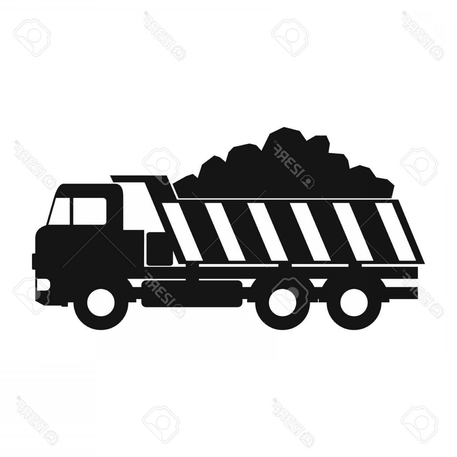 Dump Truck Vector Black And White: Photostock Vector Dump Truck Black Simple Icon Isolated On White Background