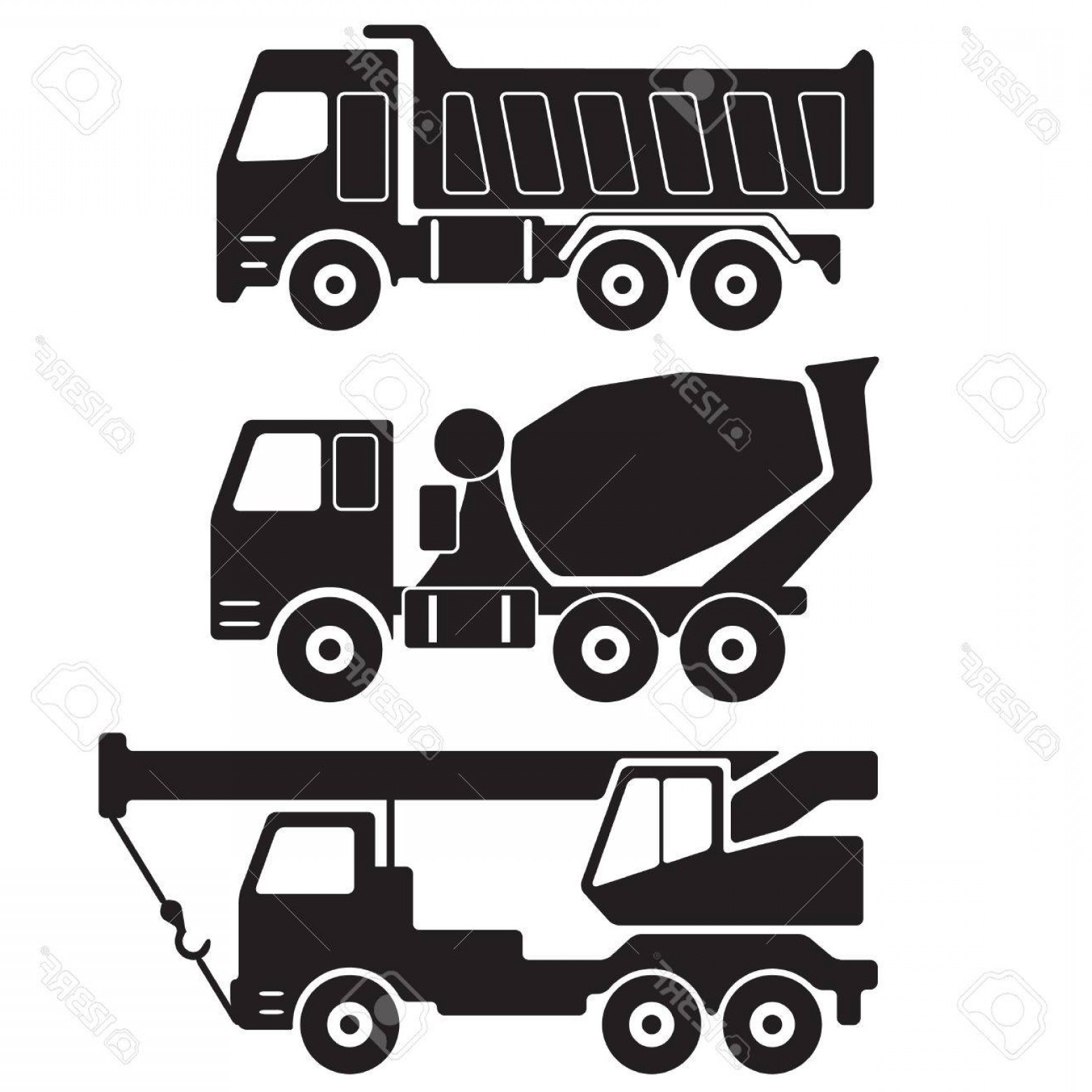 Dump Truck Vector Black And White: Photostock Vector Dump Truck Concrete Mixer Truck Truck Crane Black Silhouette On White Background Construction Icon O