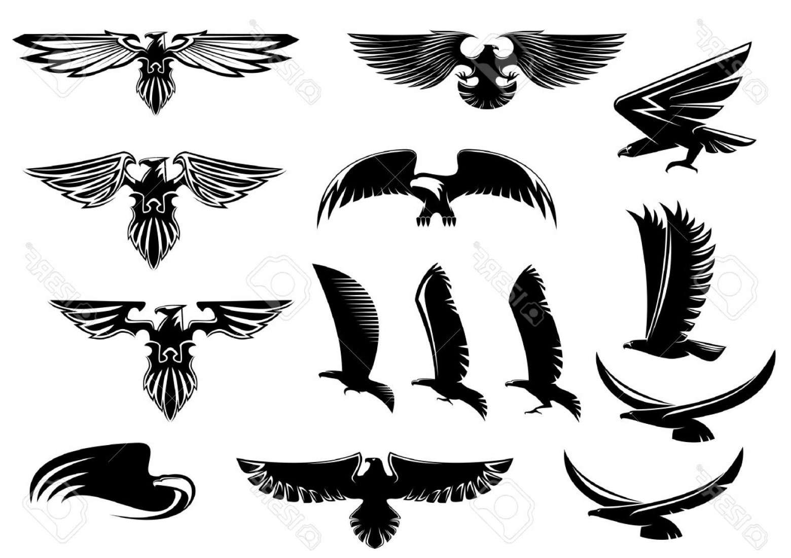 Falcon Wing Vector Art: Photostock Vector Eagle Falcon And Hawk Birds Vector Icons Showing The Bird Flying Or With Outspread Wings With Feathe
