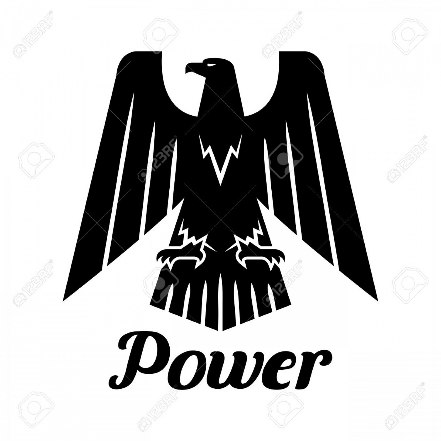 Falcon Silhouette Vector: Photostock Vector Eagle Isolated Icon Vector Heraldic Gothic Falcon Bird Symbol With Open Spread Wings And Claws Hawk
