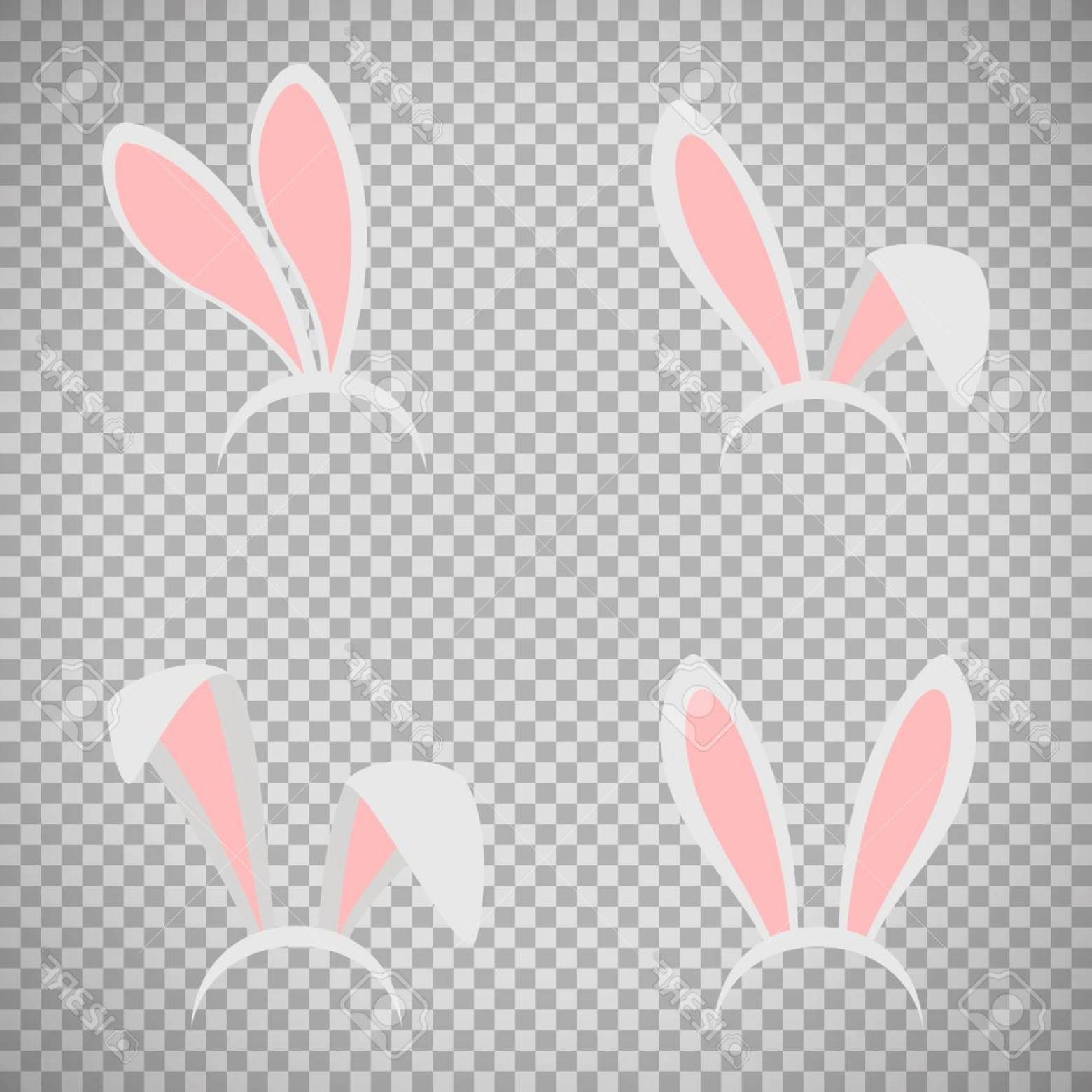 Easter Vector No Background: Photostock Vector Easter Bunny Ears Mask Vector Illustration Ostern Rabbit Ear Spring Hat Set Isolated On Transparent