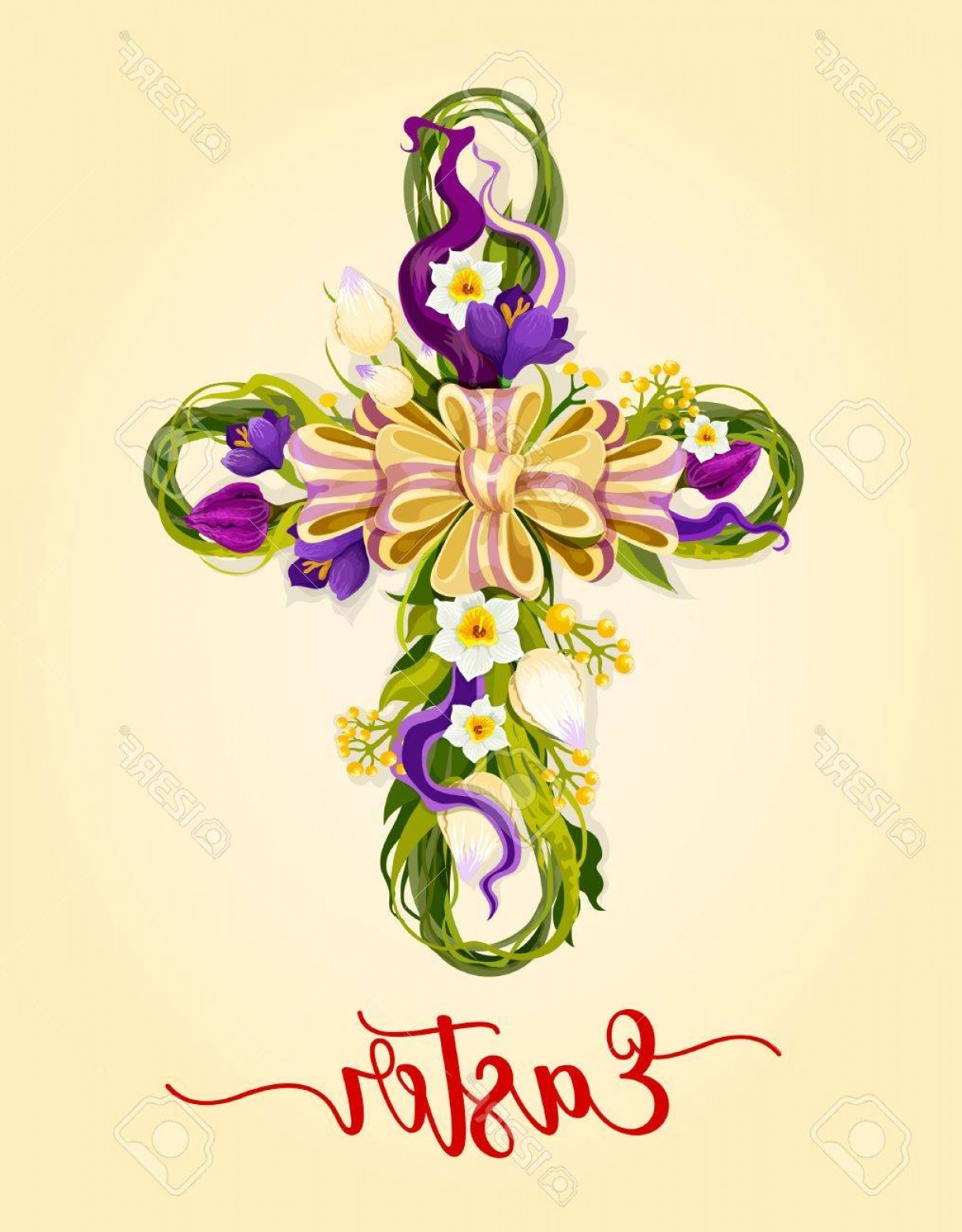 Easter Cross Vector: Photostock Vector Easter Cross With Spring Flowers Greeting Card Flowers Of Tulip Narcissus And Crocus With Green Leav