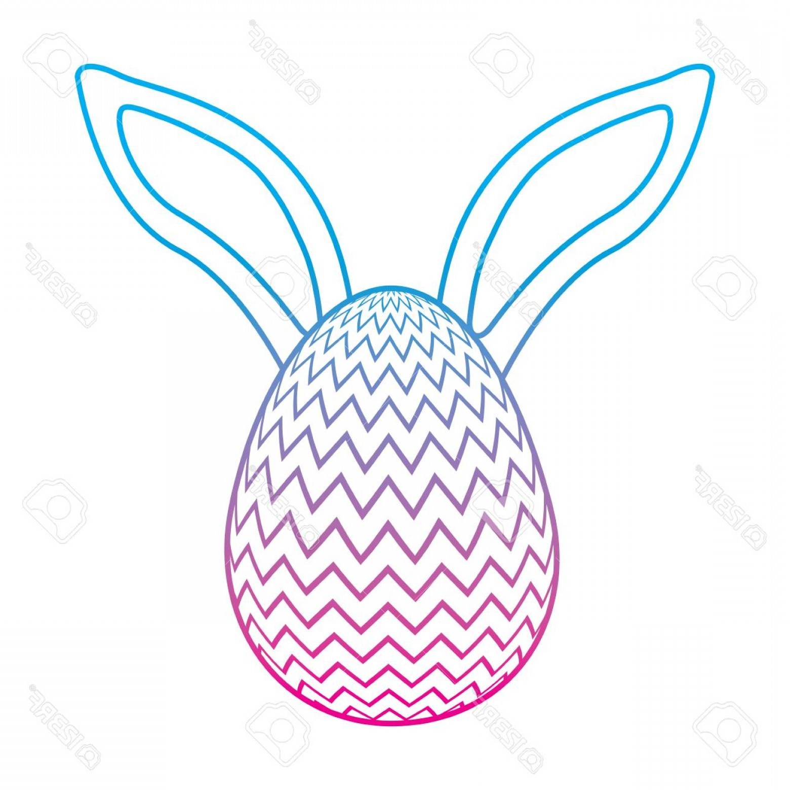 Vector RabbitEars: Photostock Vector Easter Egg With Rabbit Ears Decoration Vector Illustration Degrade Color Line Image