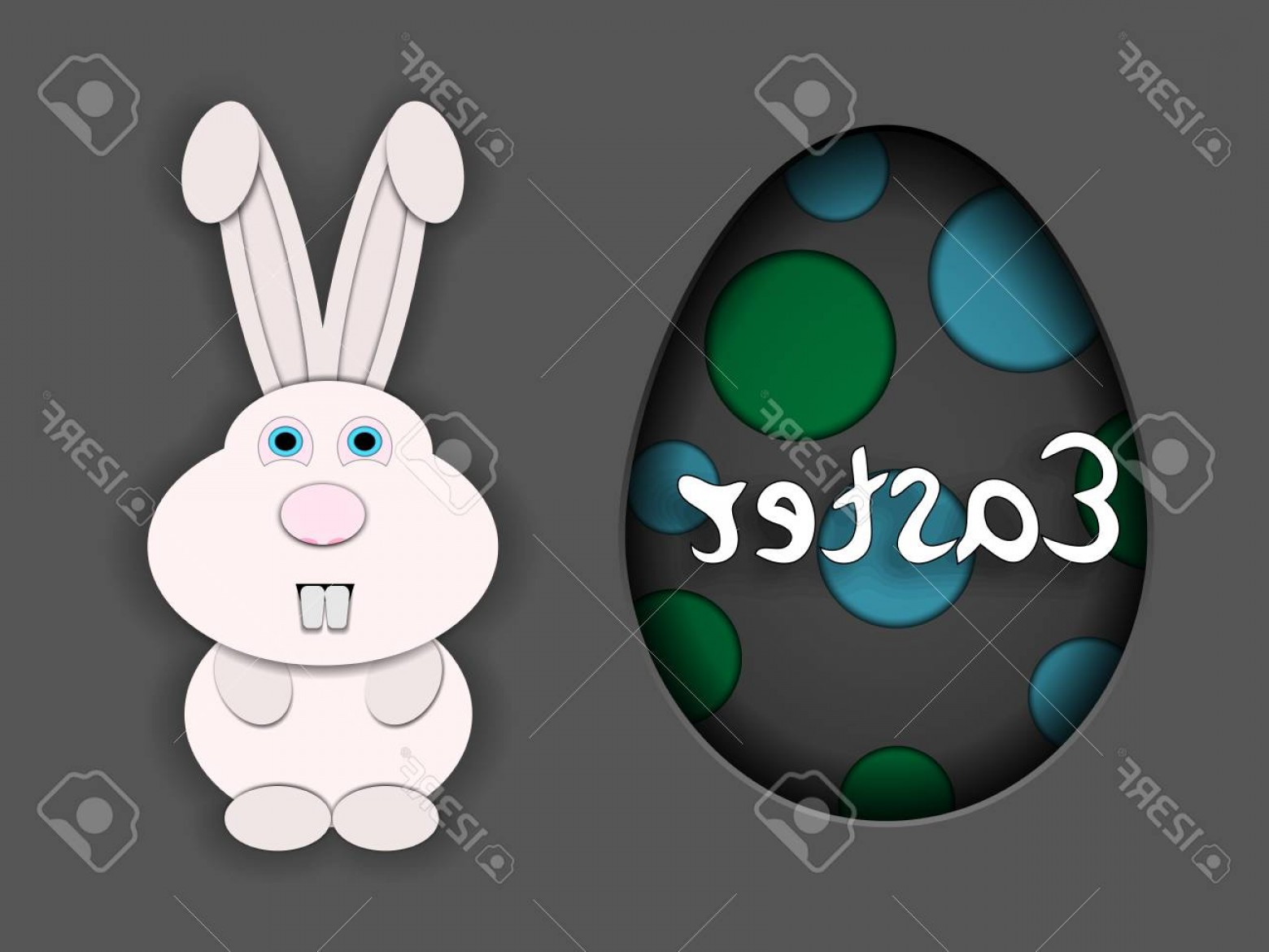 Animated Bunny Face Vector: Photostock Vector Easter Little White Rabbit With Stupid Face And Cute Ears Cut Out Of Paper