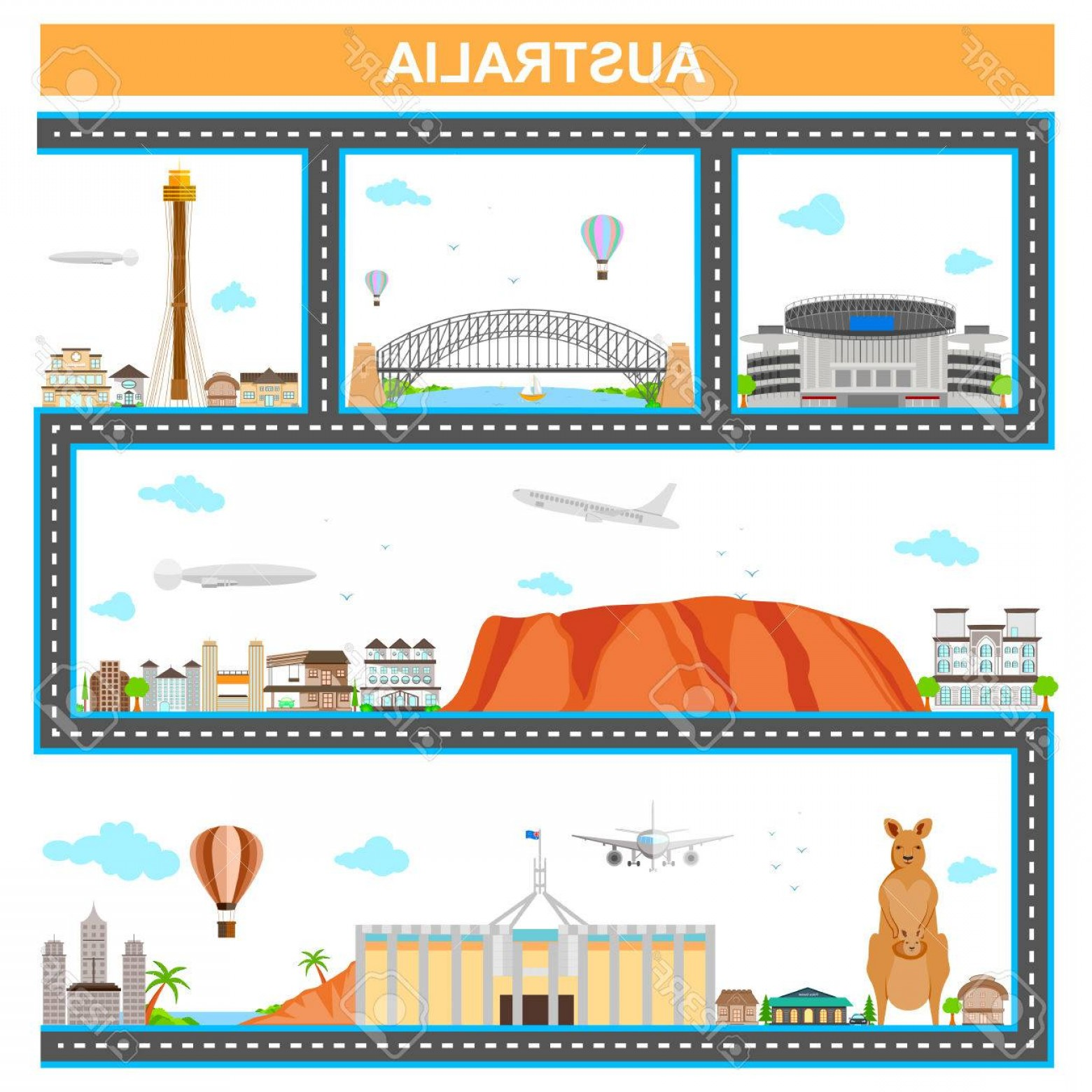 Famous Easy Vectors: Photostock Vector Easy To Edit Vector Illustration Of Cityscape With Famous Monument And Building Of Australia