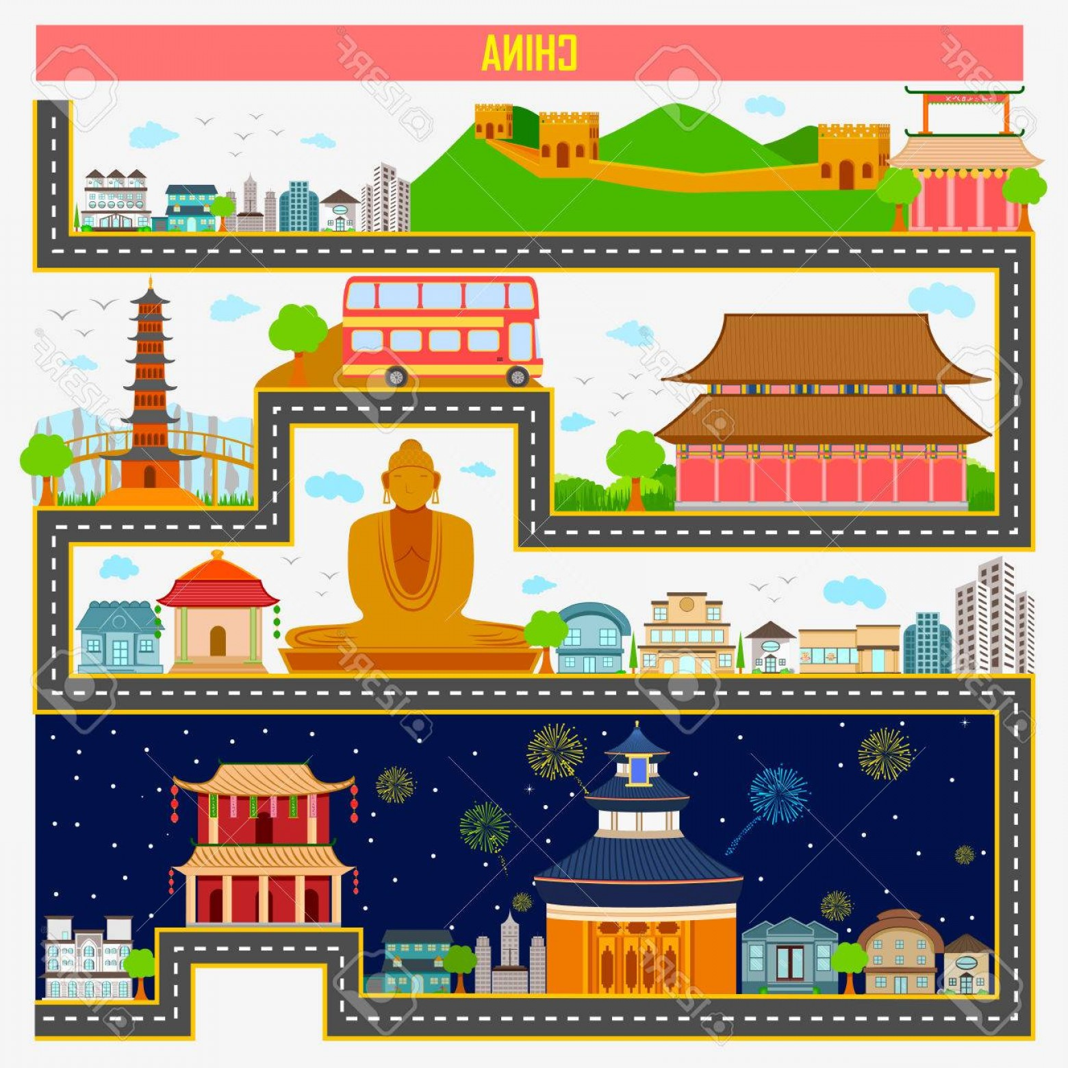 Famous Easy Vectors: Photostock Vector Easy To Edit Vector Illustration Of Cityscape With Famous Monument And Building Of China
