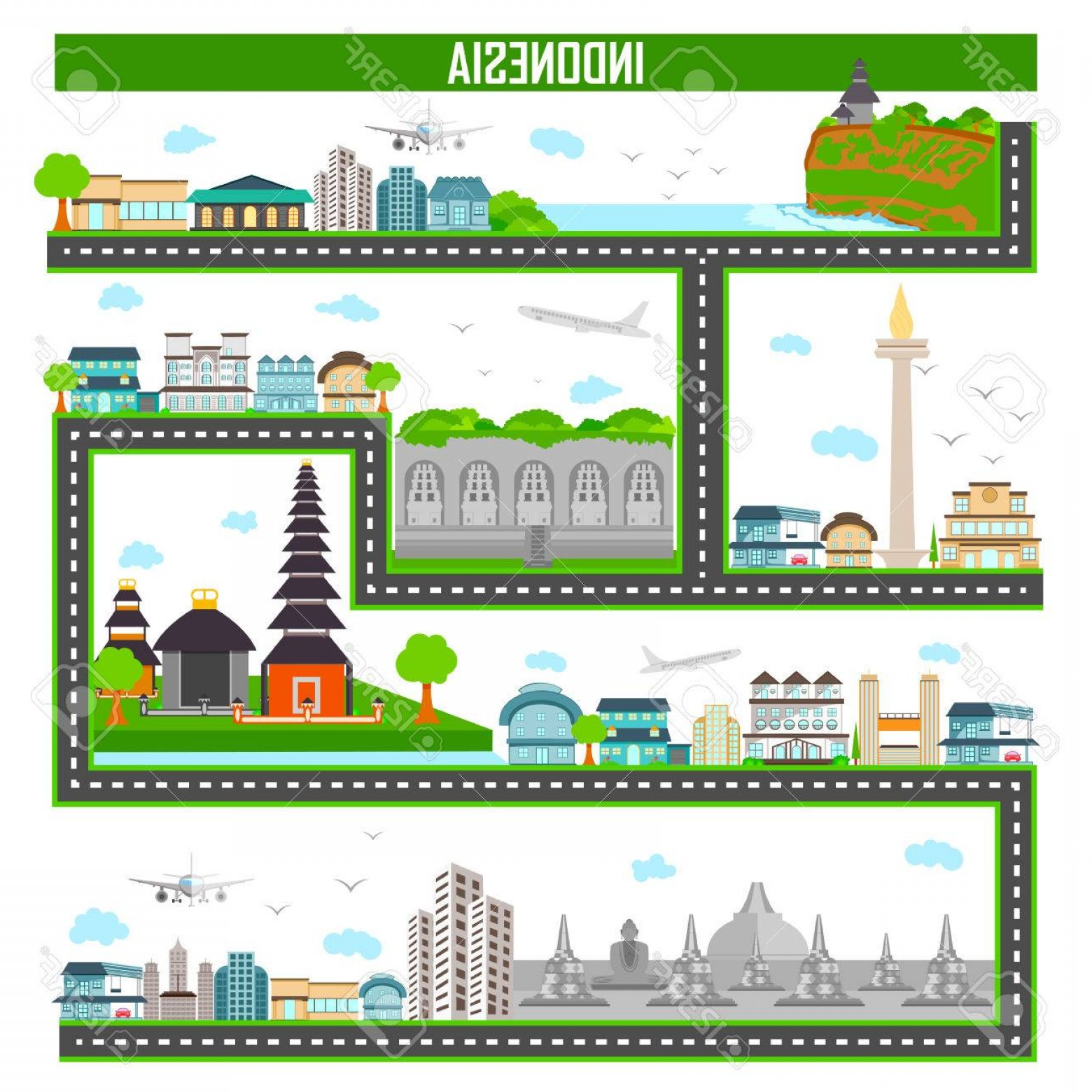 Famous Easy Vectors: Photostock Vector Easy To Edit Vector Illustration Of Cityscape With Famous Monument And Building Of Indonesia