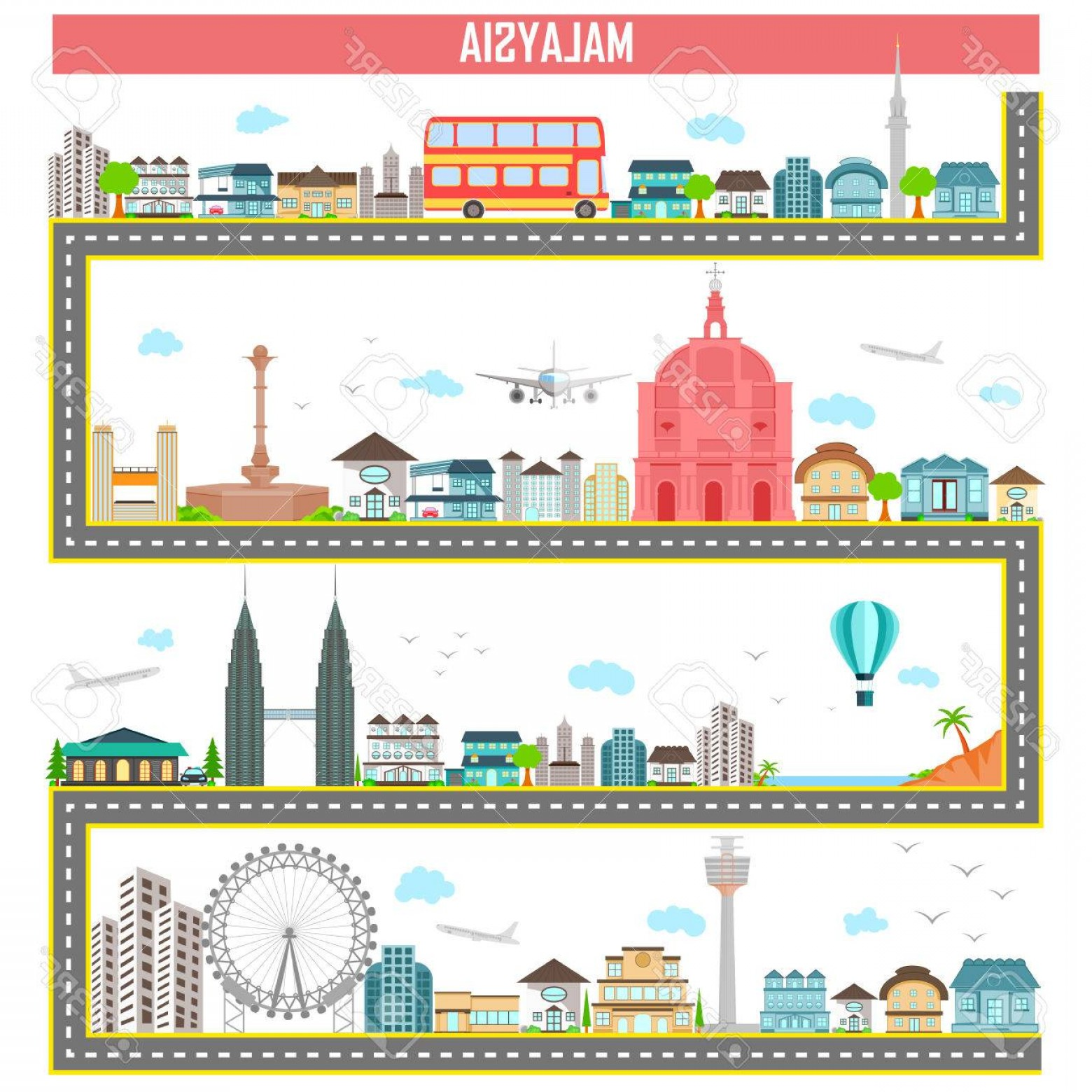 Famous Easy Vectors: Photostock Vector Easy To Edit Vector Illustration Of Cityscape With Famous Monument And Building Of Malaysia