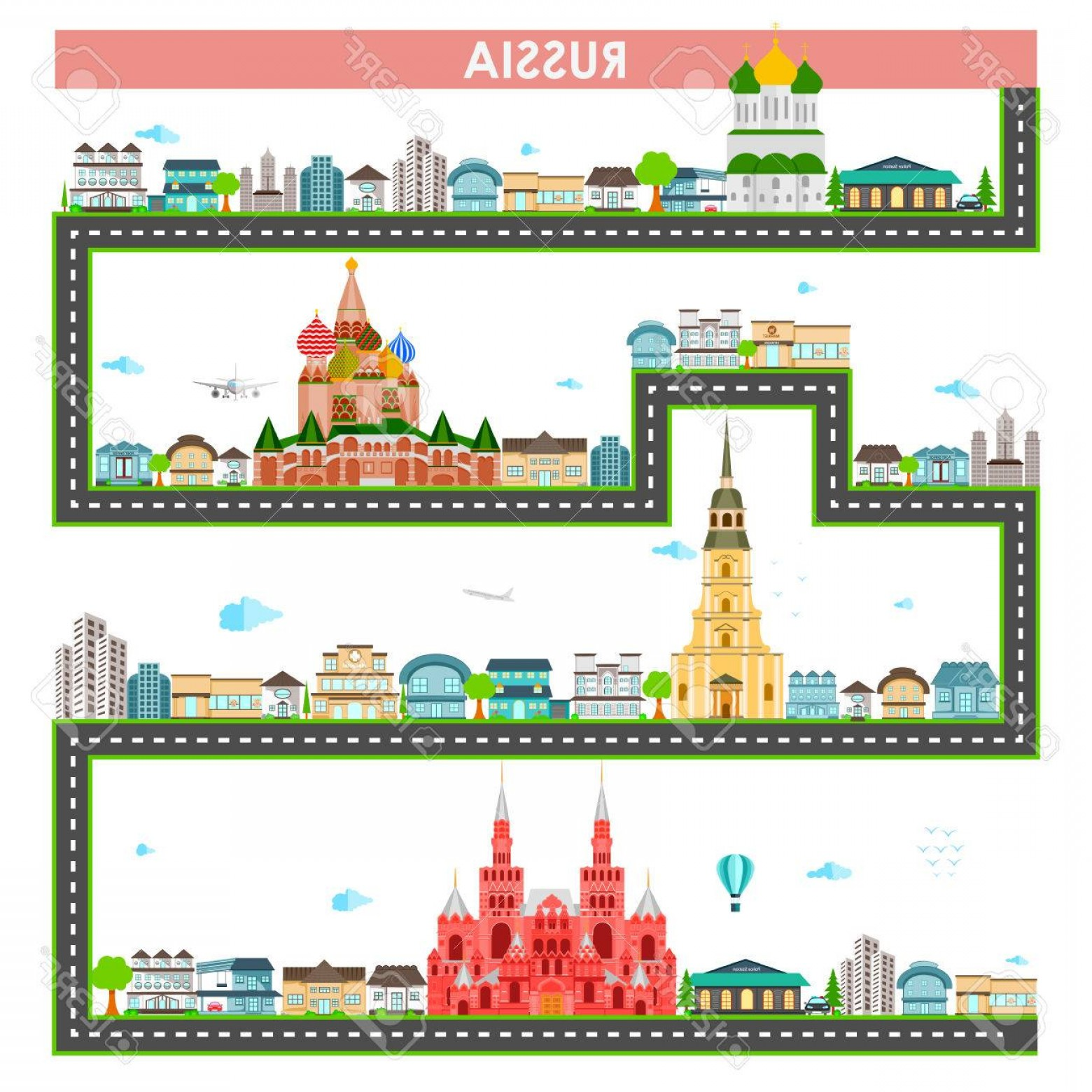 Famous Easy Vectors: Photostock Vector Easy To Edit Vector Illustration Of Cityscape With Famous Monument And Building Of Russia