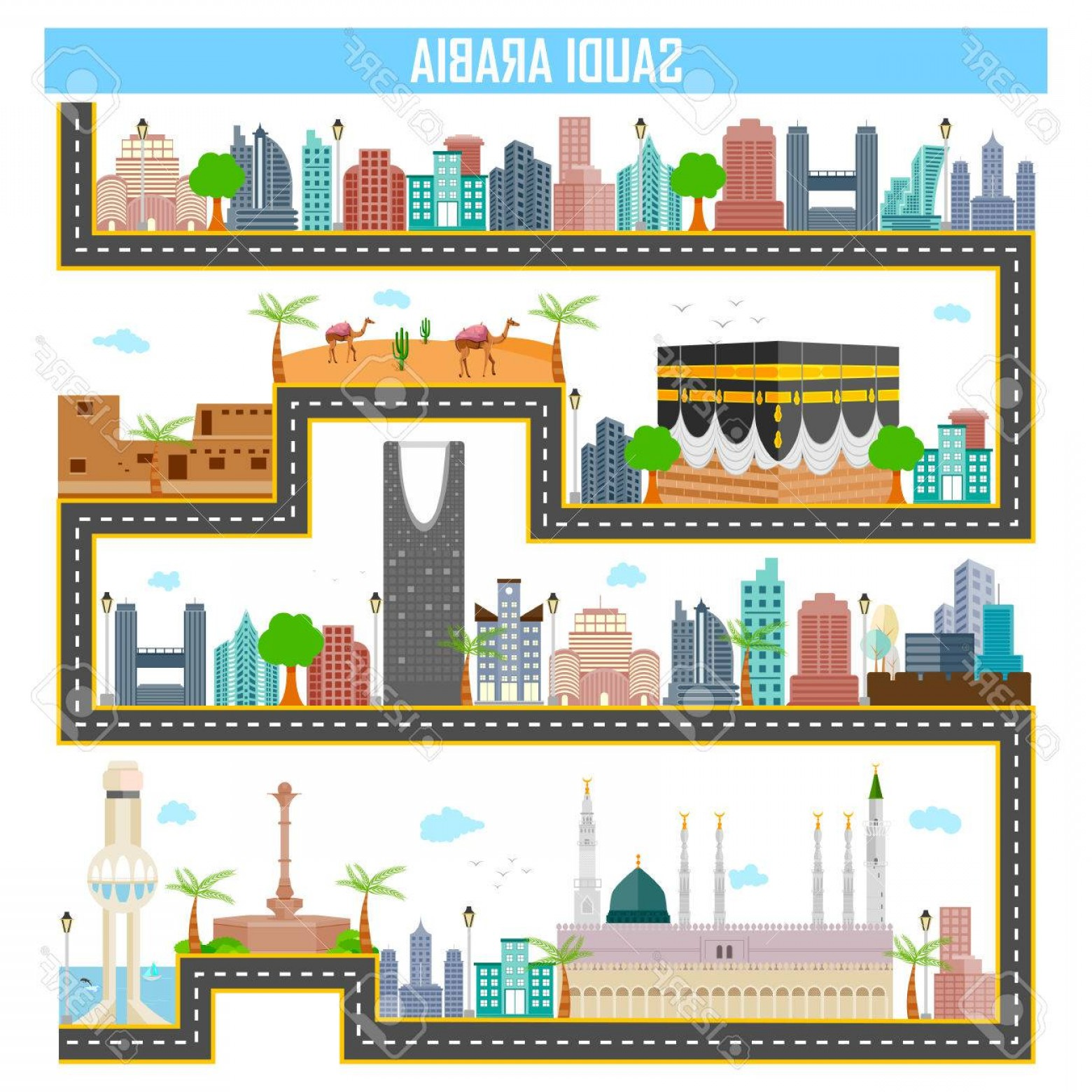 Famous Easy Vectors: Photostock Vector Easy To Edit Vector Illustration Of Cityscape With Famous Monument And Building Of Saudi Arabia