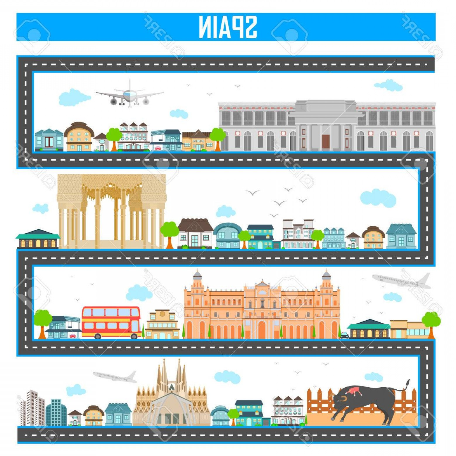 Famous Easy Vectors: Photostock Vector Easy To Edit Vector Illustration Of Cityscape With Famous Monument And Building Of Spain