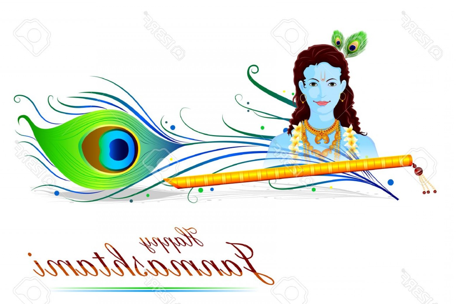 320 Vector: Photostock Vector Easy To Edit Vector Illustration Of Happy Krishna Janmashtami