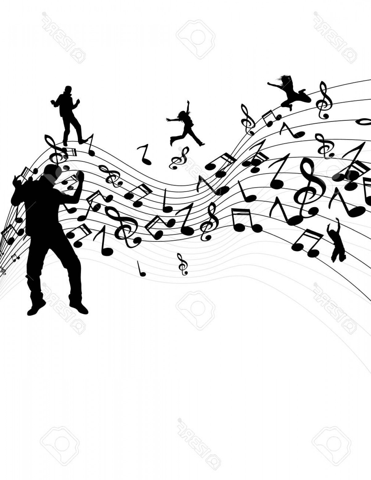 Dancing Musical Notes Vector: Photostock Vector Easy To Edit Vector Illustration Of Wavy Musical Notes With Dancer