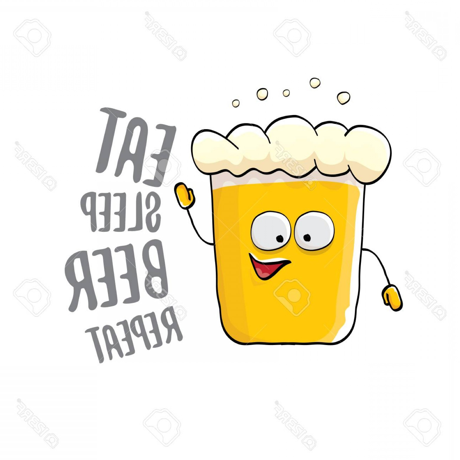 Eat Sleep Vector: Photostock Vector Eat Sleep Beer Repeat Vector Concept Illustration Or Summer Poster Vector Funky Beer Character With