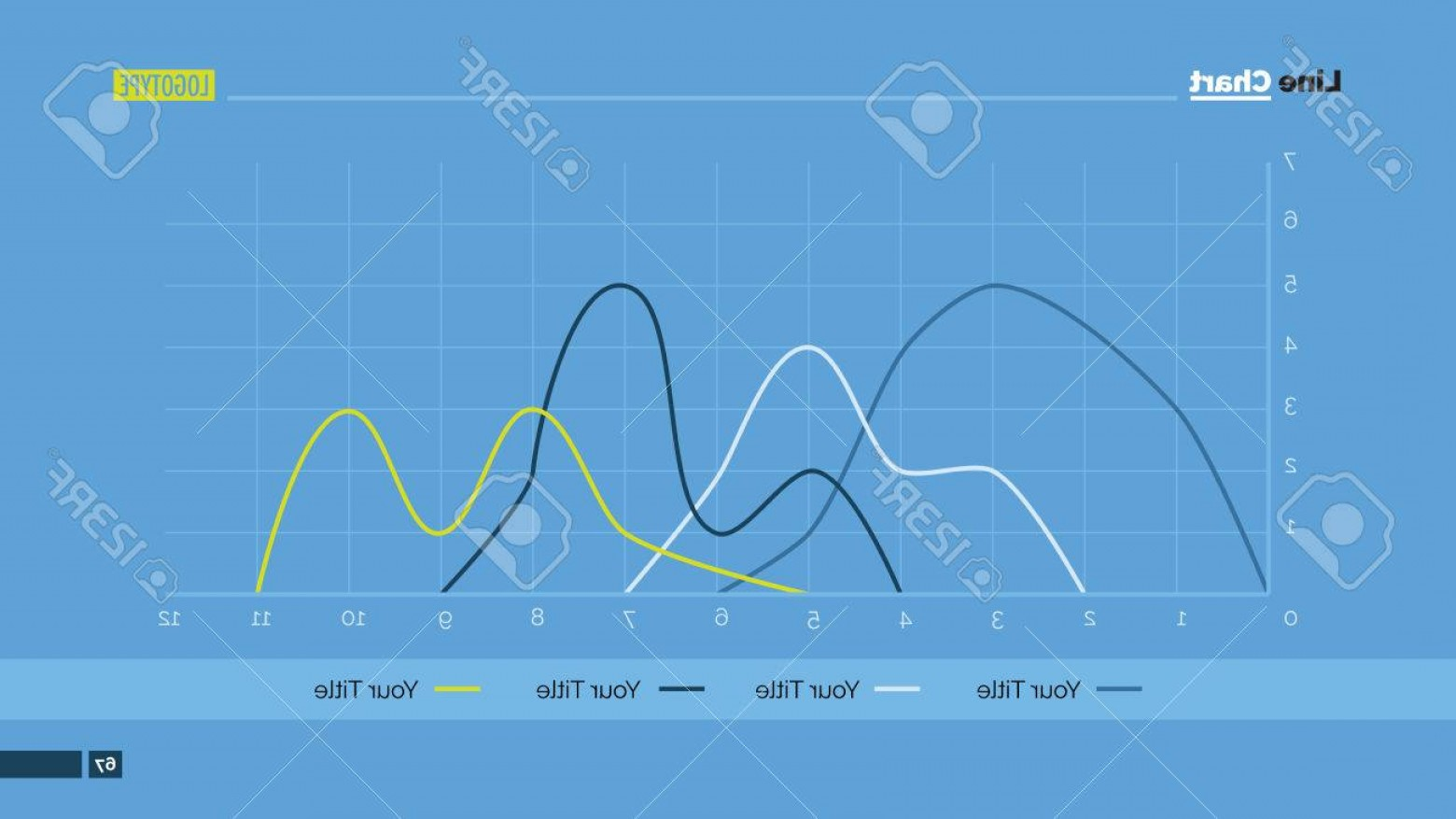 3 Vectors PowerPoint: Photostock Vector Editable Template Of Powerpoint Presentation Slide Representing Line Chart With Four Curves