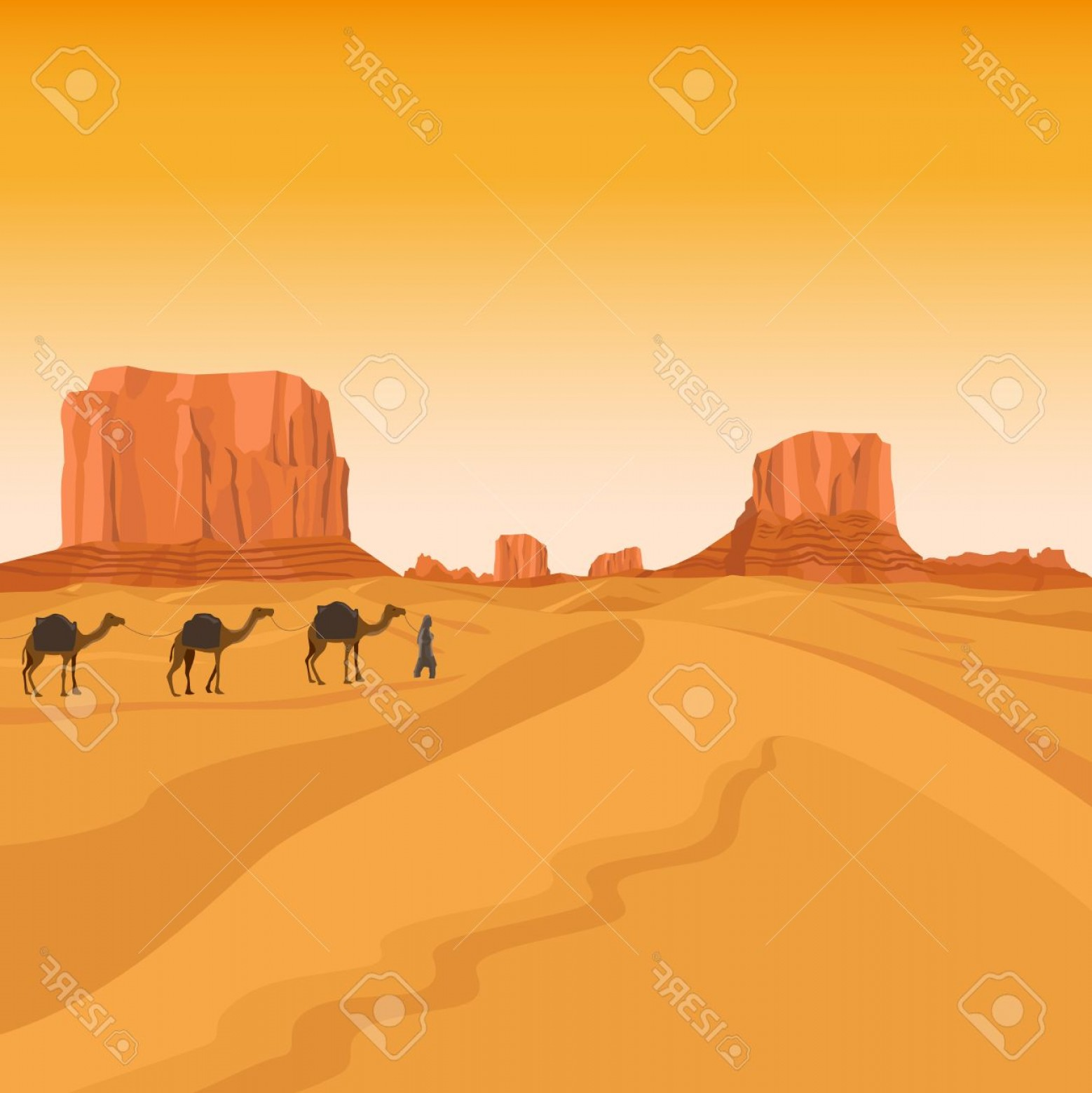 Sand Dune Silhouettes Vectors: Photostock Vector Egypt Sahara Desert With Sand Hills And Camel Caravan Silhouettes Vector Background