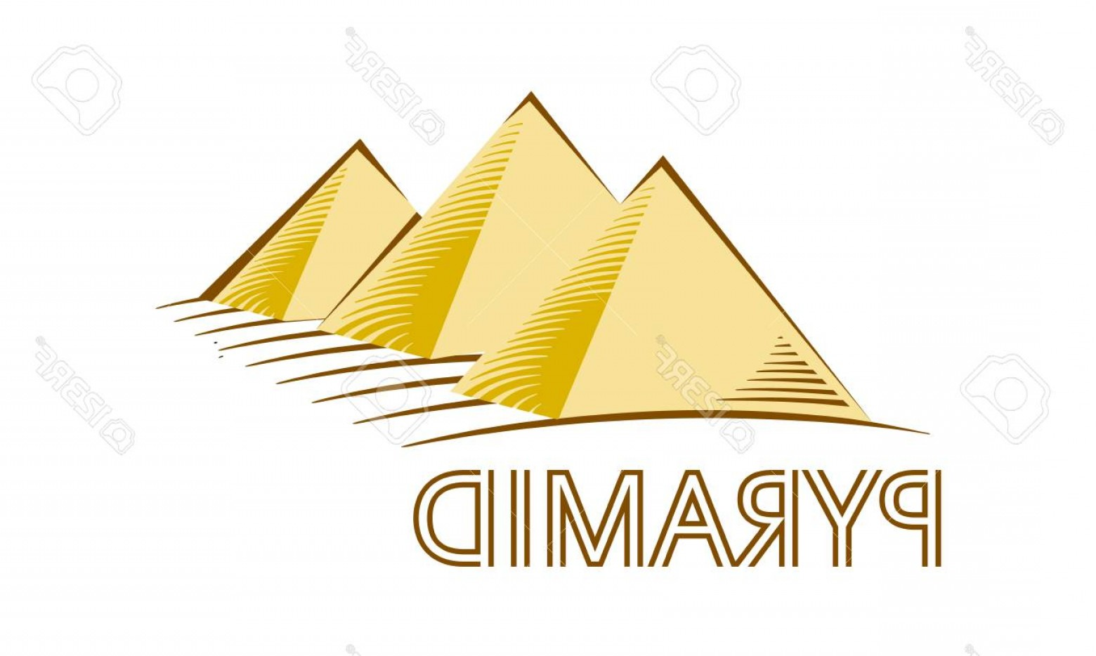 Piramids Vector Art: Photostock Vector Egyptian Pyramids Vector Logotype Simple Yellow Tetrahedron For Logo Vector Illustration Egypt Style