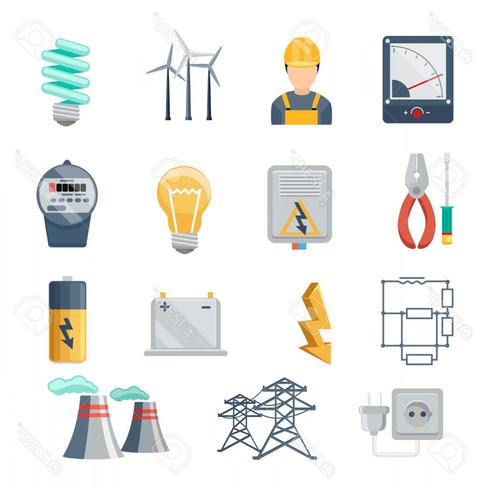 Transformer Vector Diagrams: Photostock Vector Electricity And Power Industry Icons Flat Vector Set Transformer And Socket Plug And Capacity Energy