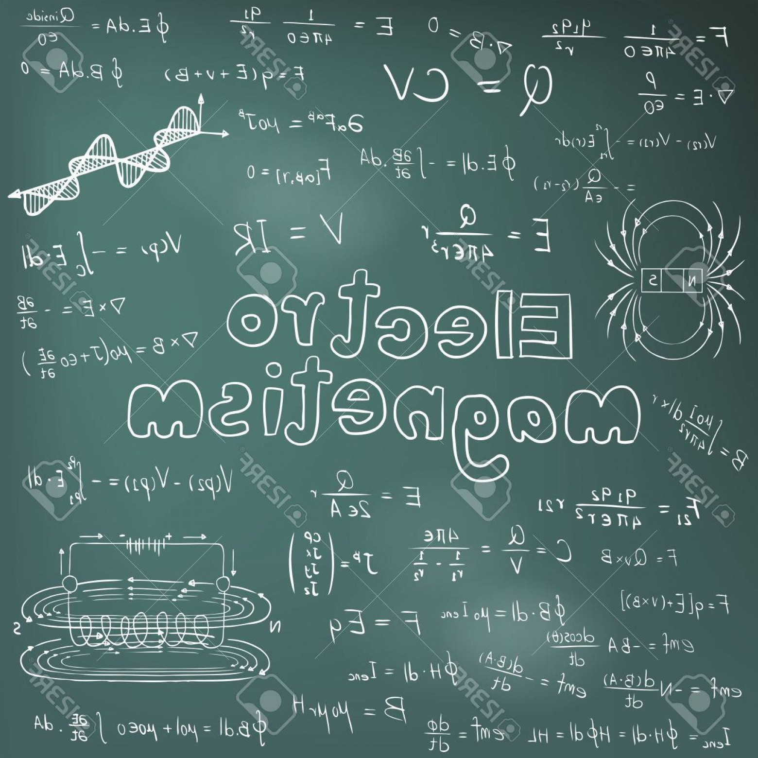 Ways To Write Vector BA: Photostock Vector Electromanetism Electric Magnetic Law Theory And Physics Mathematical Formula Equation Doodle Handwr