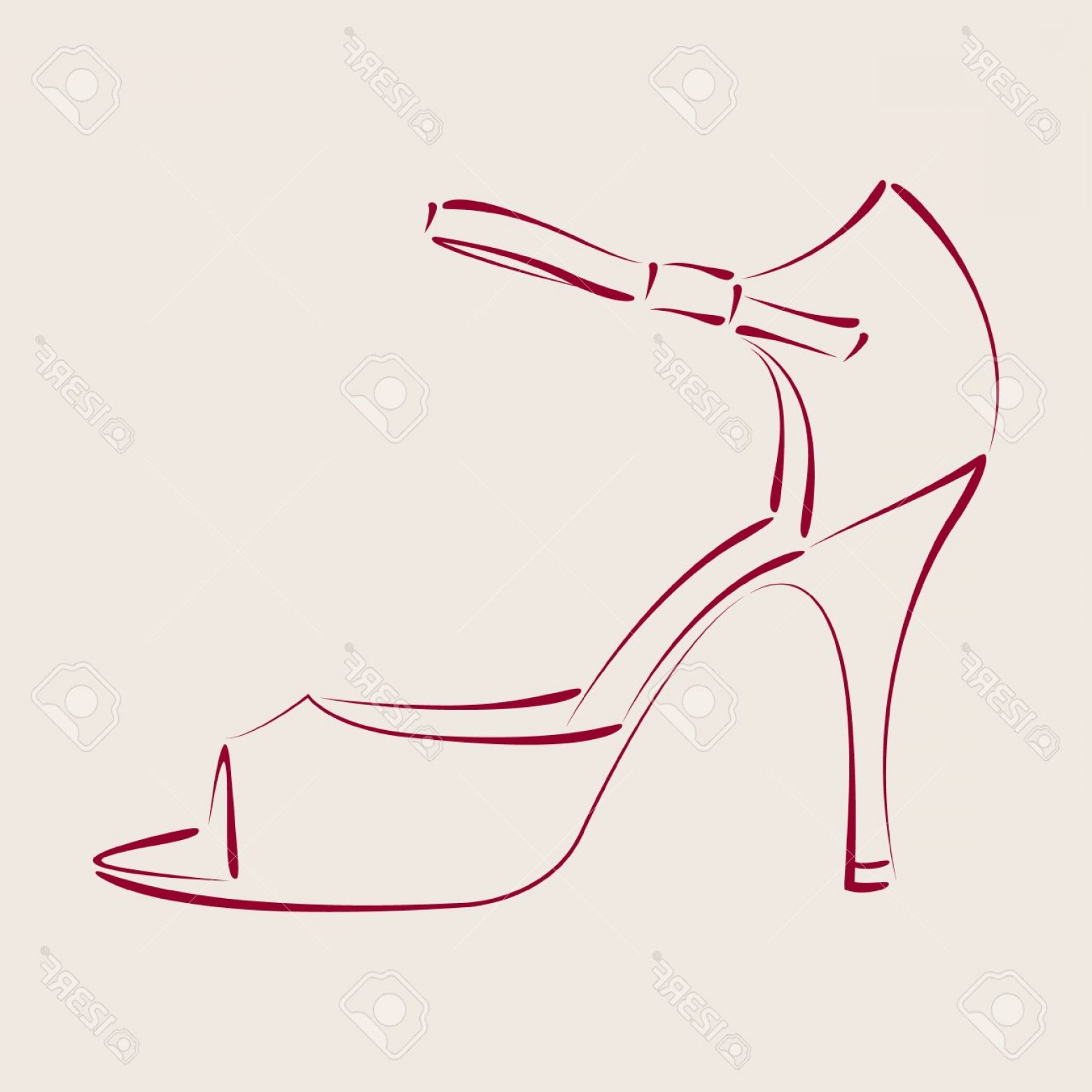 Dance Shoes Vector Art: Photostock Vector Elegant Sketched Woman S Shoe Argentine Tango Dance Shoes Background Can Be Easily Removed Design Te