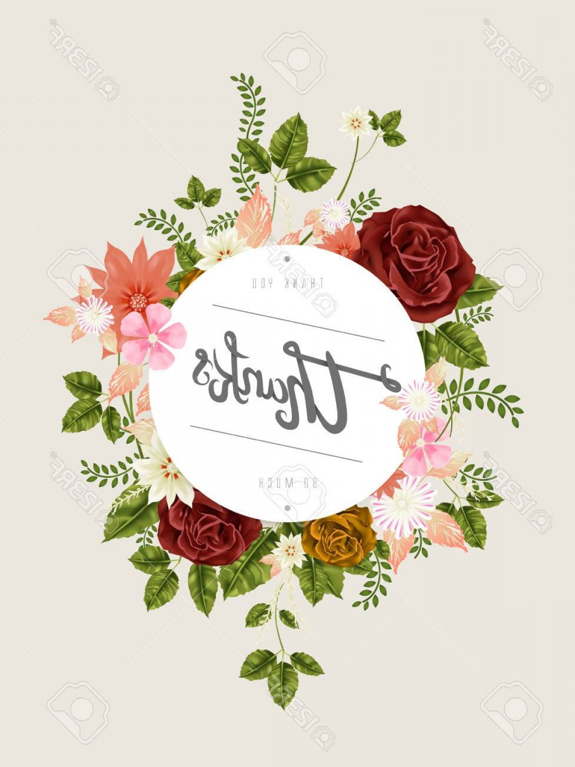 Floral Vector Calligraphy: Photostock Vector Elegant Thanks Calligraphy Design With Fantastic Floral Elements