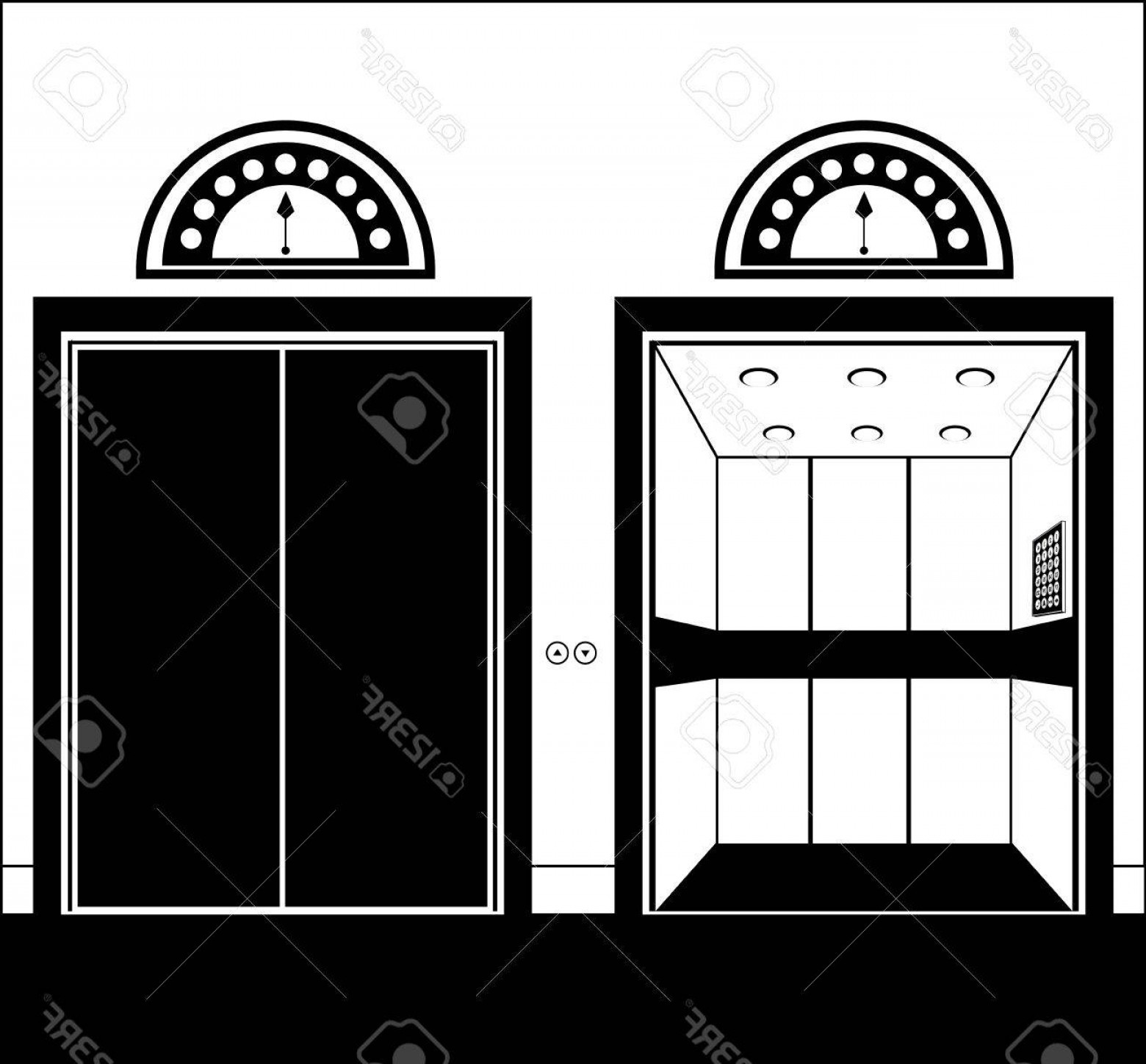 Car Vector Front Elevation: Photostock Vector Elevator Design Over White Background Vector Illustration