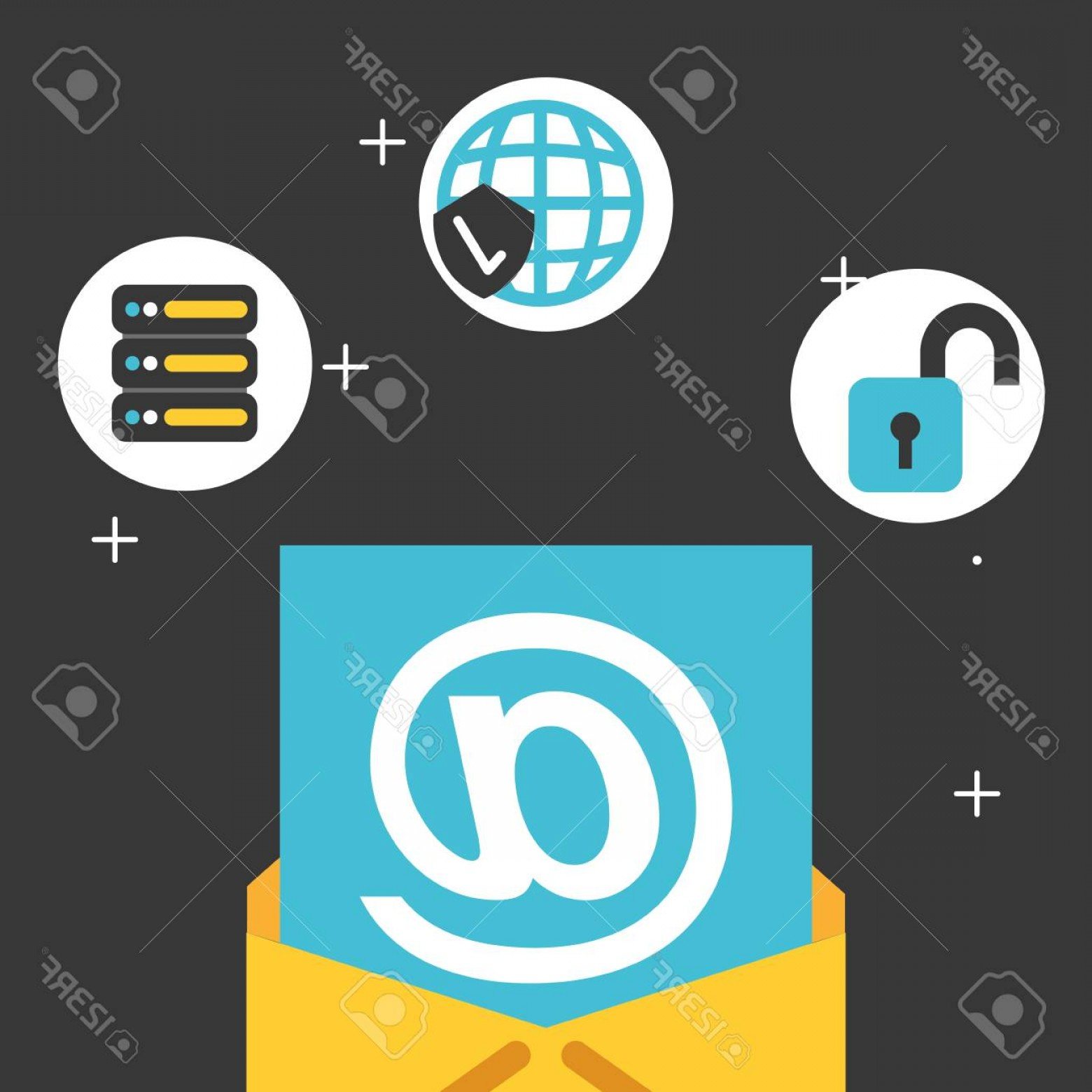 Vector Email Server: Photostock Vector Email Database Server Security Big Data Vector Illustration