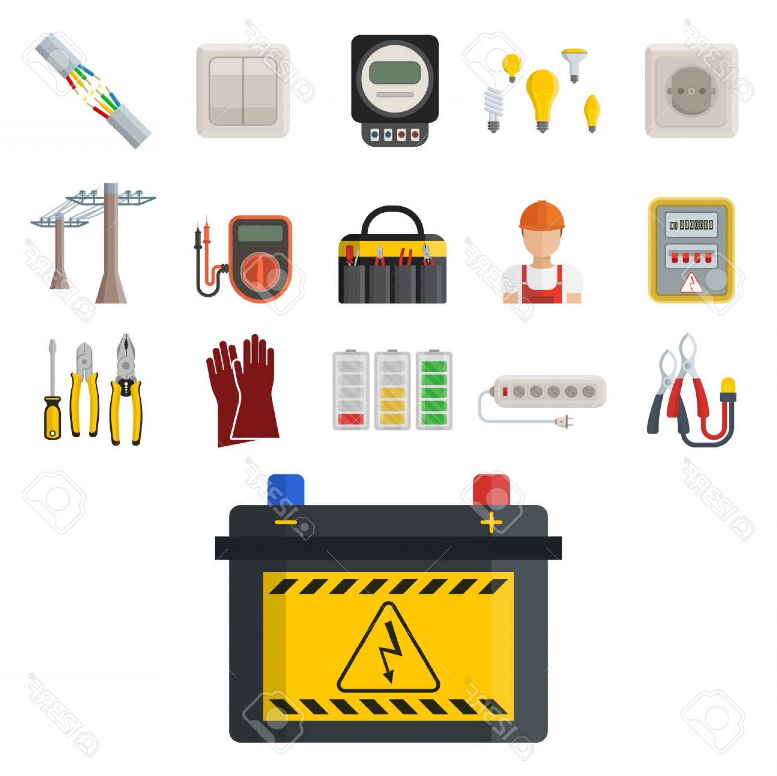 Battery Electricity Vector Images: Photostock Vector Energy Electricity Vector Power Icons Battery Illustration Industrial Electrician Voltage Electricit