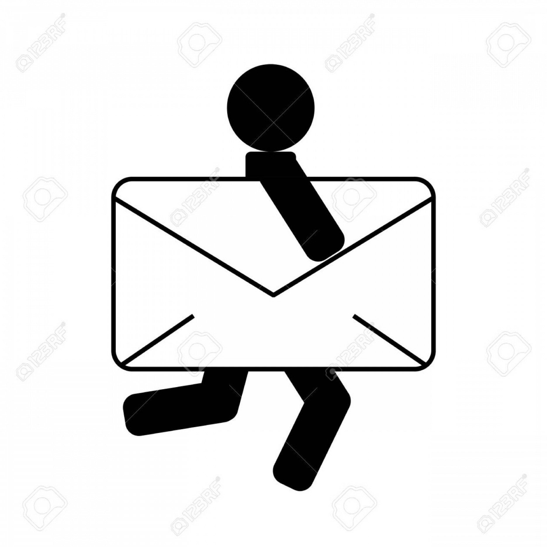 Vector Envelope Express: Photostock Vector Envelope And Person Icon Express Mail Delivery Icon