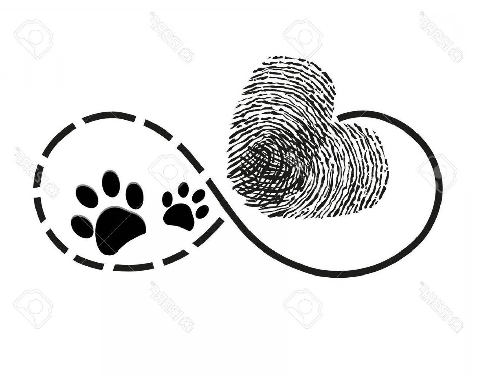Infinity Heart Tattoo Vector: Photostock Vector Eternity With Finger Print And Dog Paw Prints Heart Symbol Tattoo Vector Illustration