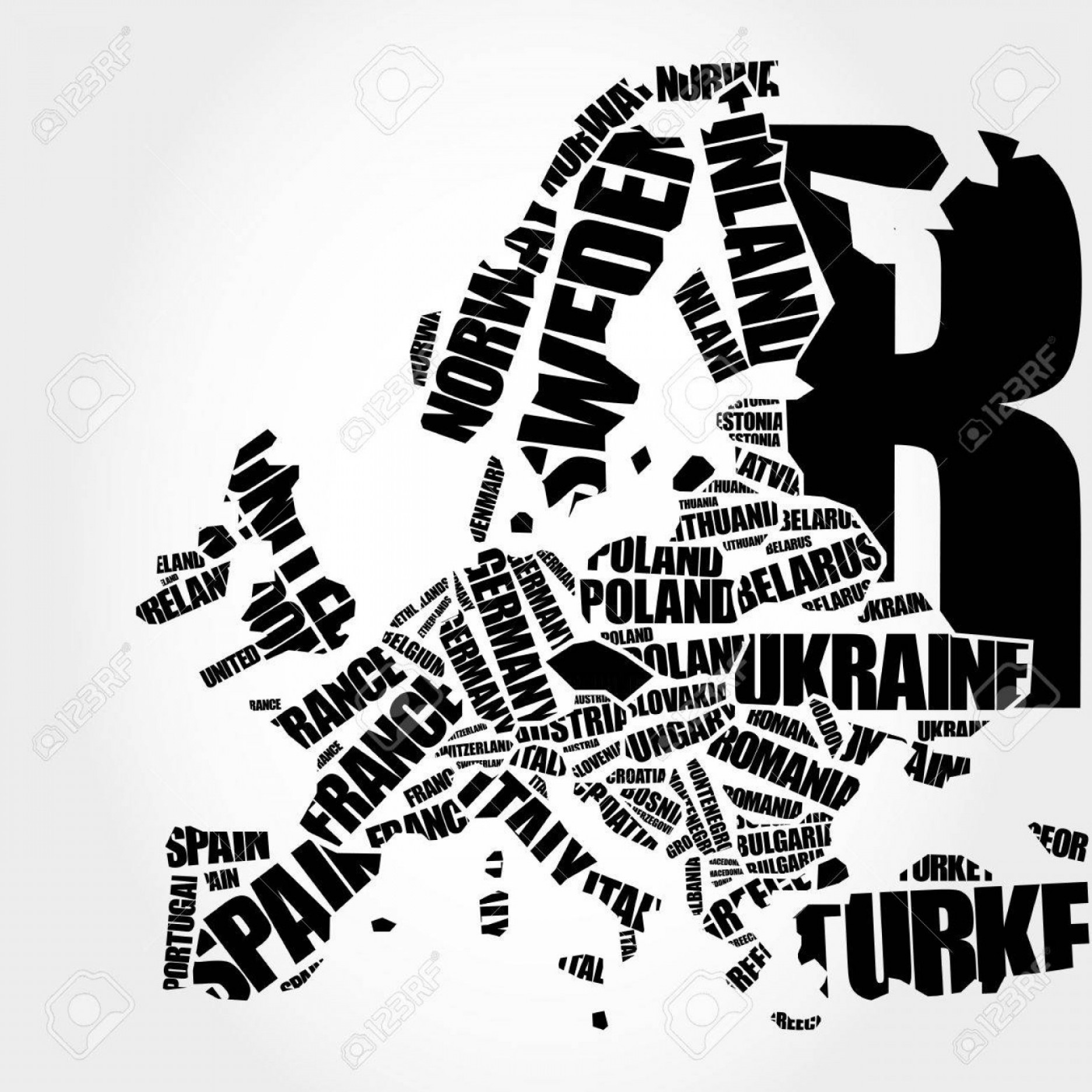Airbrush Stencil Art Vector: Photostock Vector Europe Map In Typography Word Cloud Concept