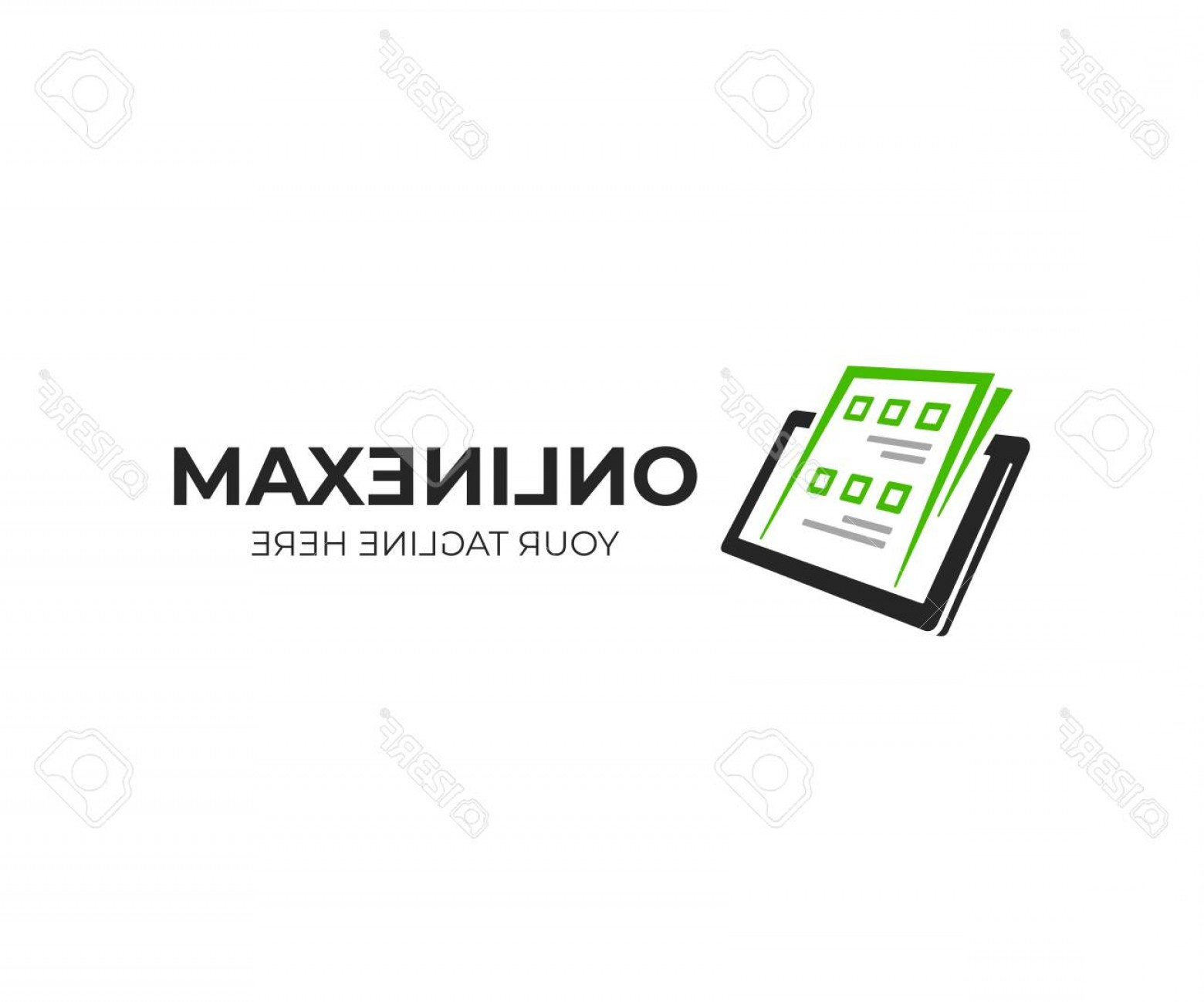 BBB Logo In Vector Form: Photostock Vector Exam Paper And Tablet Logo Template Online Exam Vector Design Survey Form On Tablet Logotype