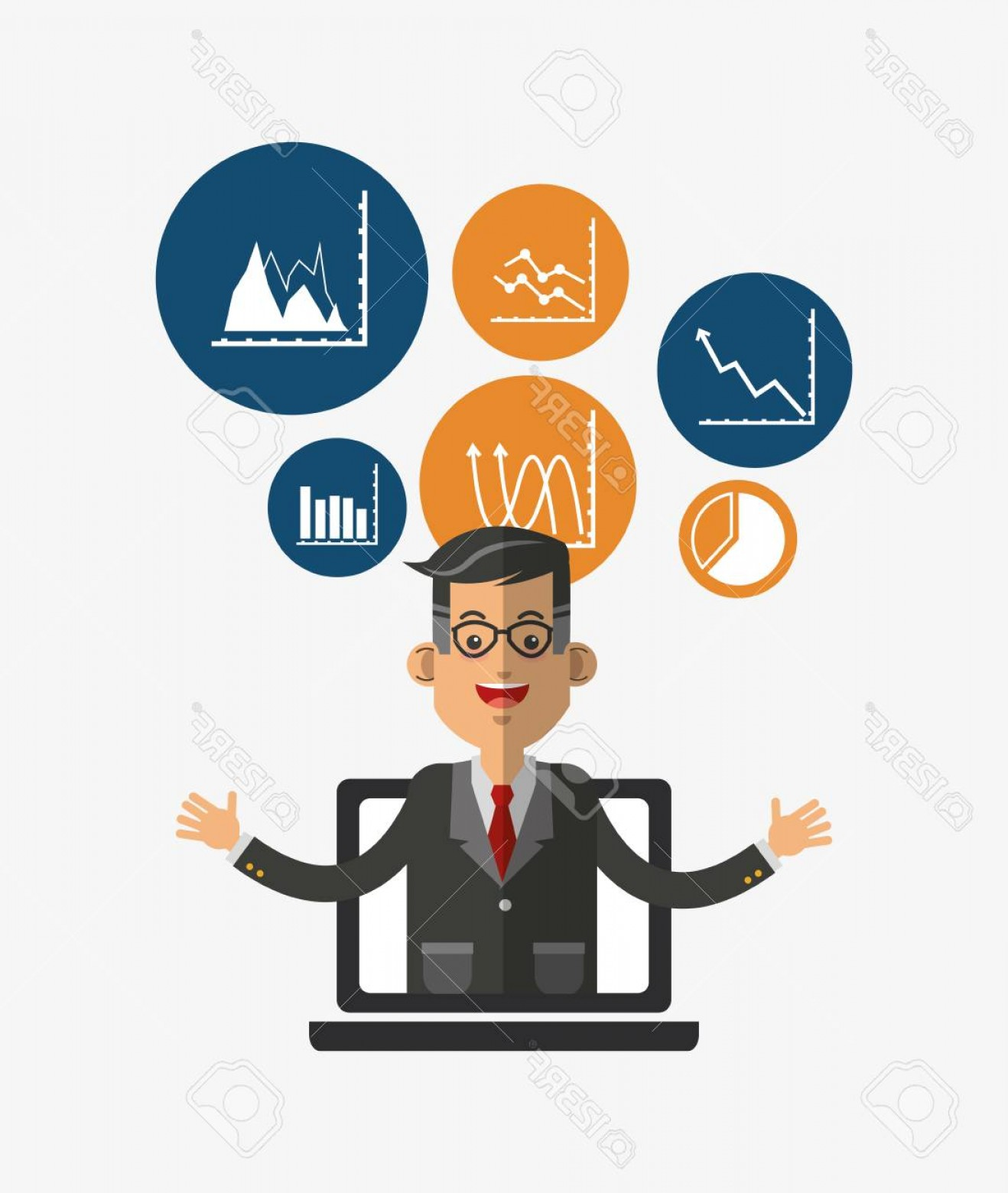 Vector Executive: Photostock Vector Executive Person In Suit With Chart Graph Business Related Icons Image Vector Illustration