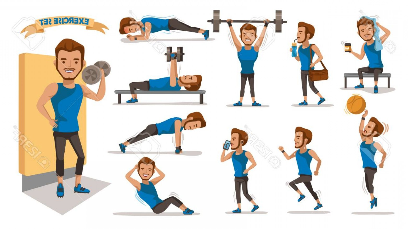 Man Vector Exercise: Photostock Vector Exercise Man Health Male Are Exercising Character Design Set Handsome Full Body Cartoon Set Isolated