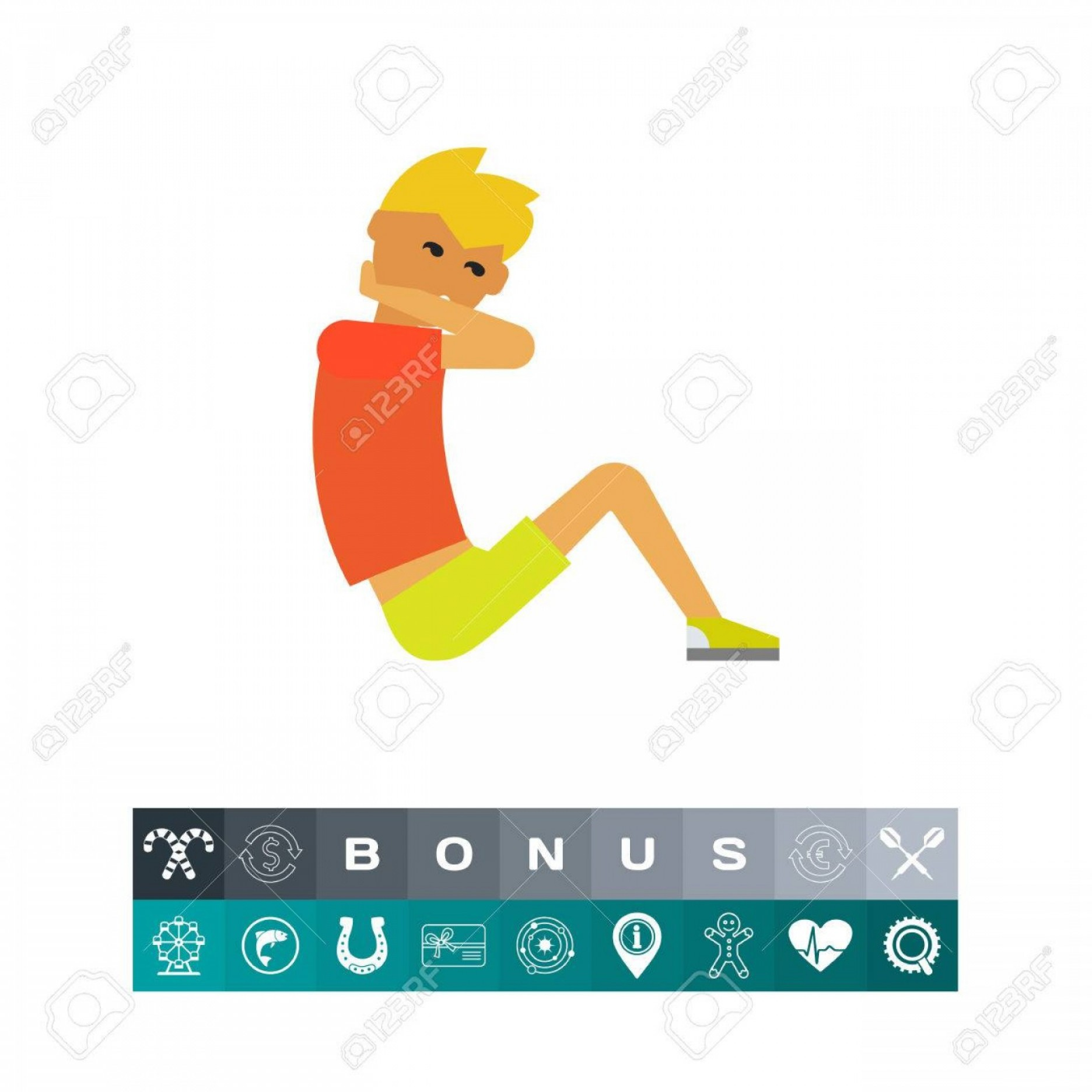 Man Vector Exercise: Photostock Vector Exercising Man Vector Icon Doing A Sit Up For Abdominal Muscle Exercise In Multicolored Illustration