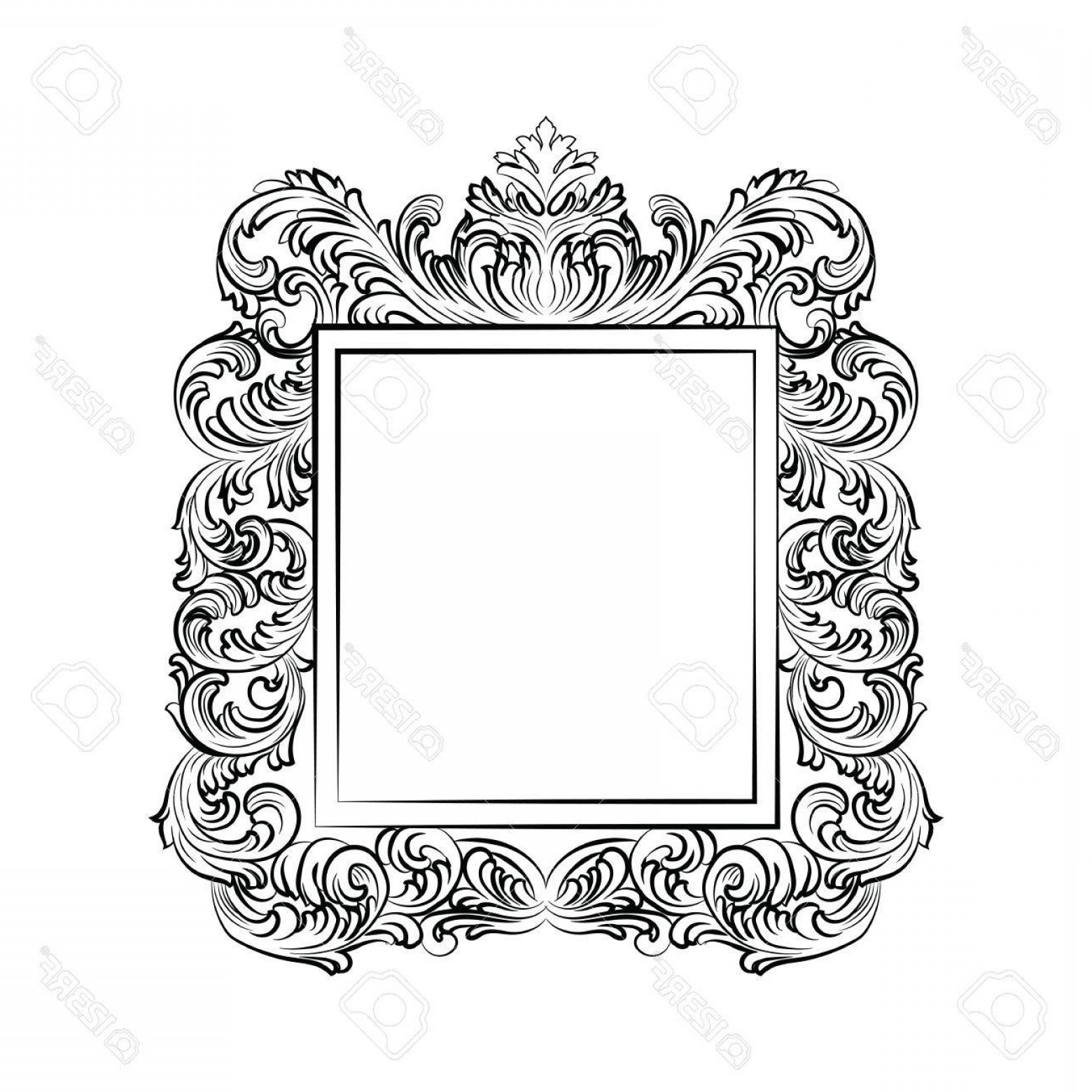 Rococo Frame Vector: Photostock Vector Exquisite Baroque Rococo Mirror Frame Vector French Luxury Frame With Rich Carved Ornaments Wall Fra