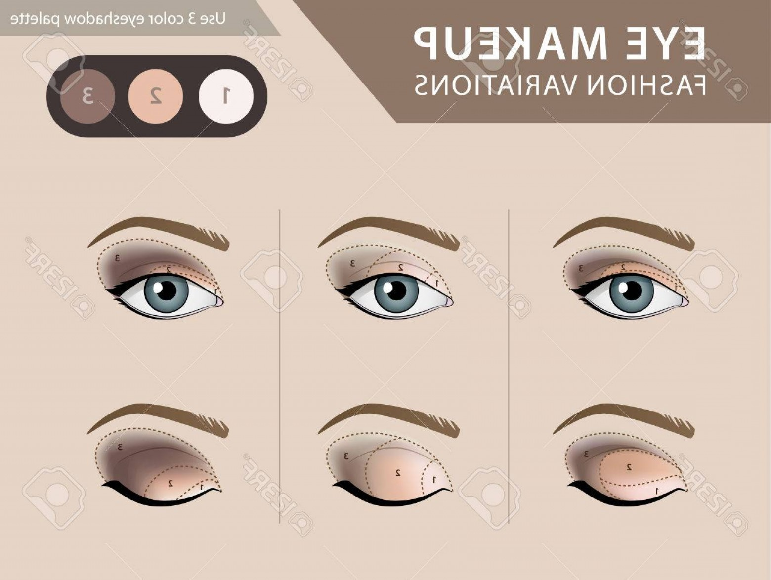 Vector Illustration Eyes Makeup: Photostock Vector Eye Makeup Tutorial Eyeshadow Vector Template