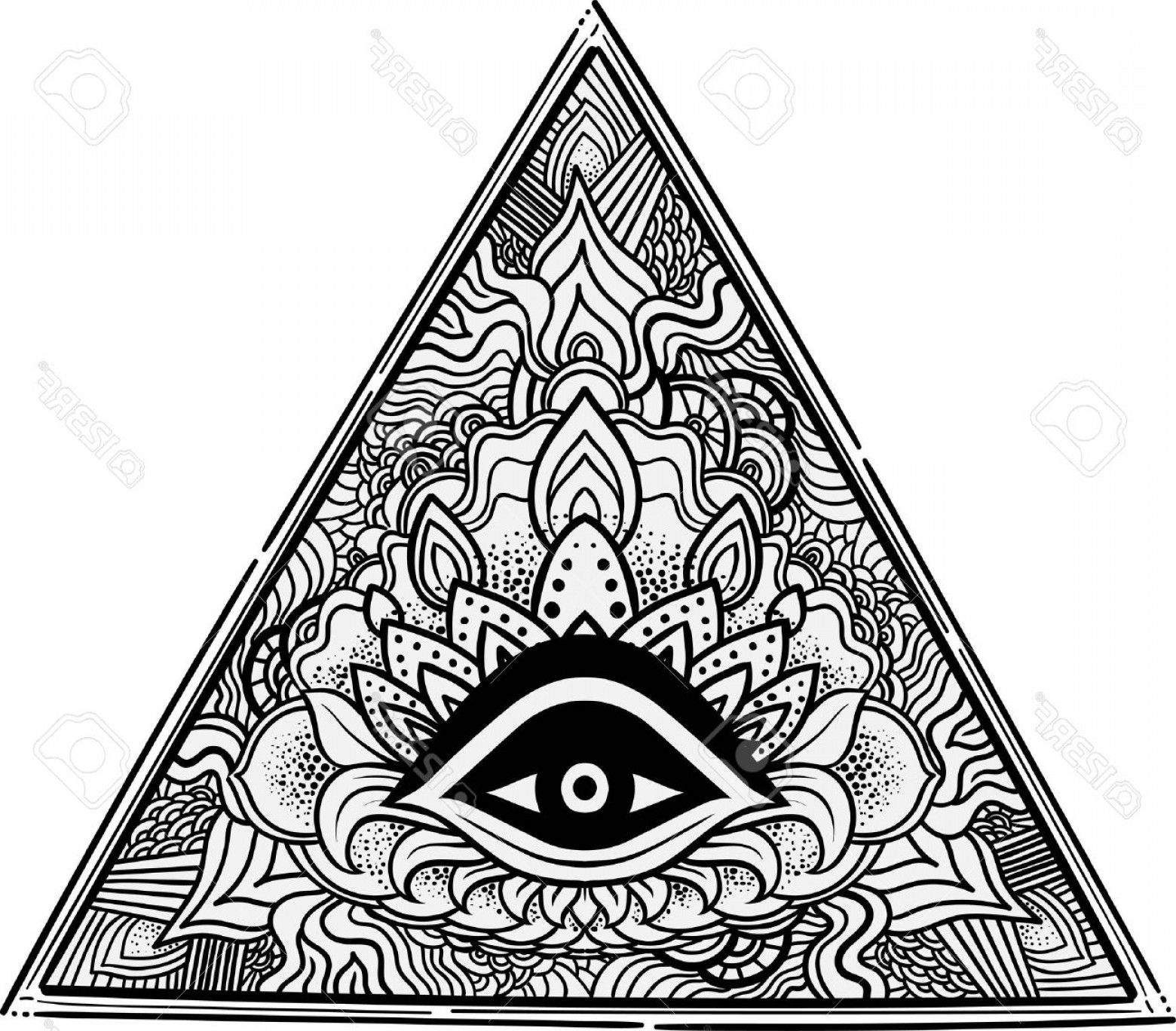 Pyramid With Eye Of Providence Vector: Photostock Vector Eye Of Providence Masonic Symbol All Seeing Eye Inside Triangle Pyramid Hand Drawn Alchemy Spiritual