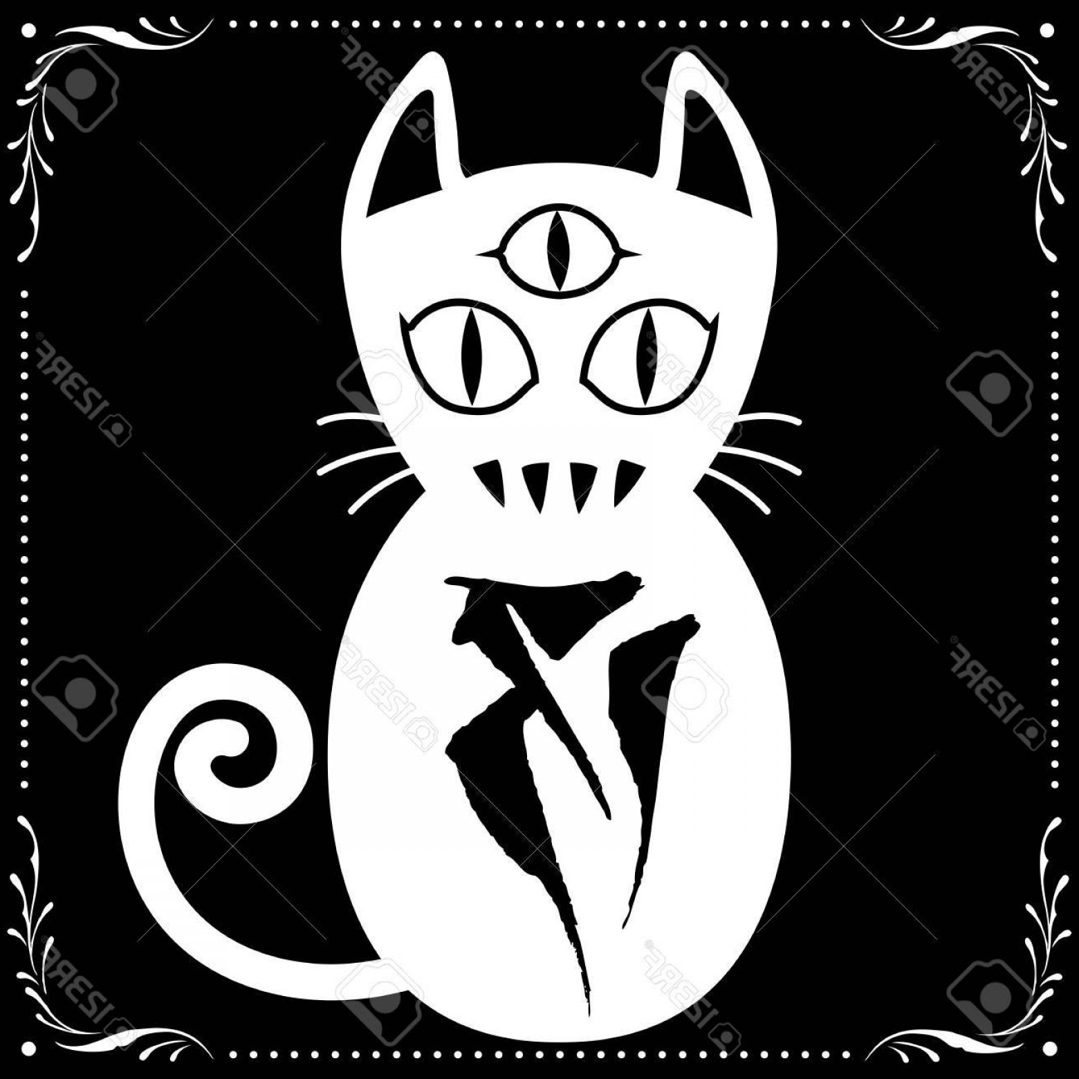 Vector Cats 3: Photostock Vector Eyed White Cat N With Floral Frame Ornament Vector For Use