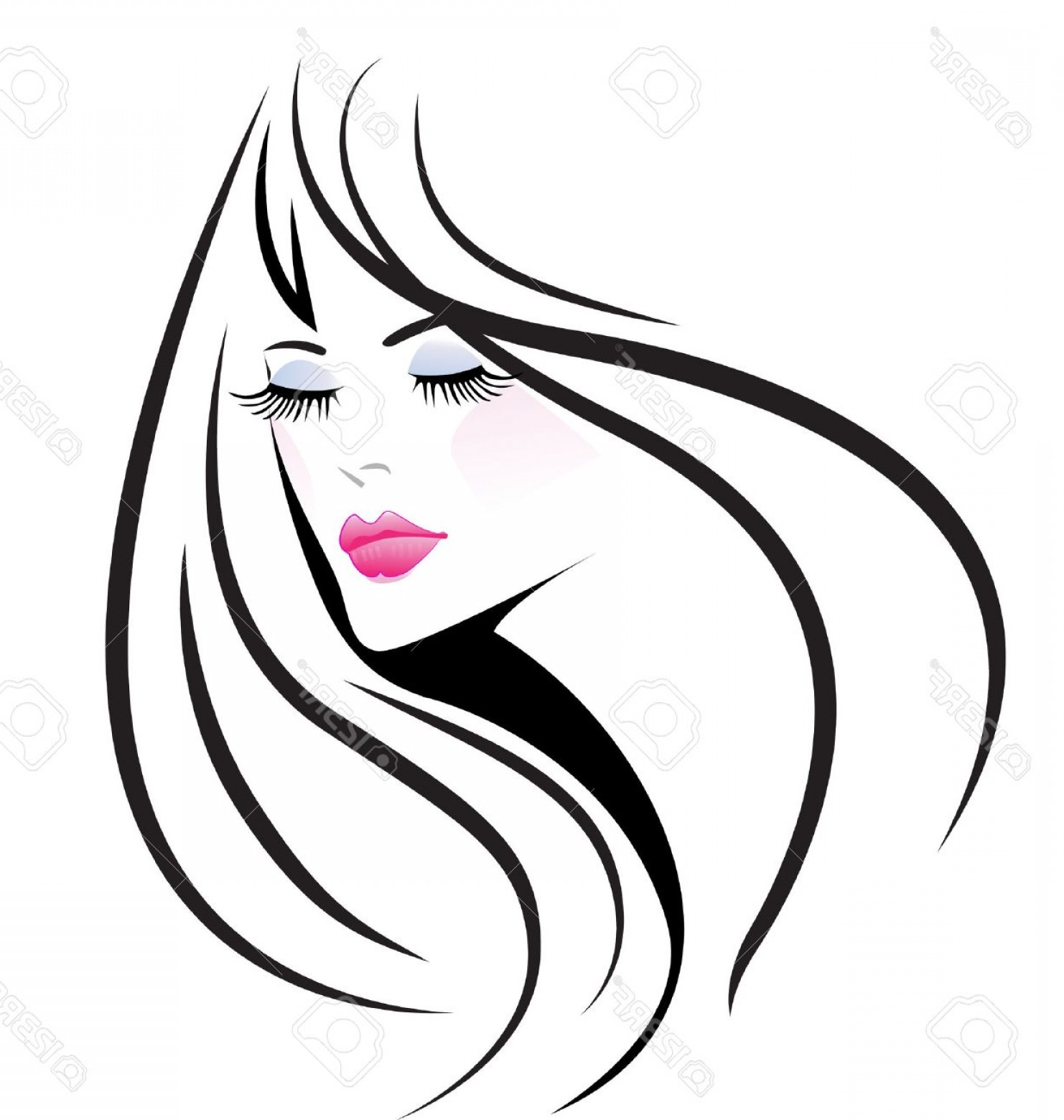 Black Beauty Vector Face: Photostock Vector Face Beauty Girl Woman Vector