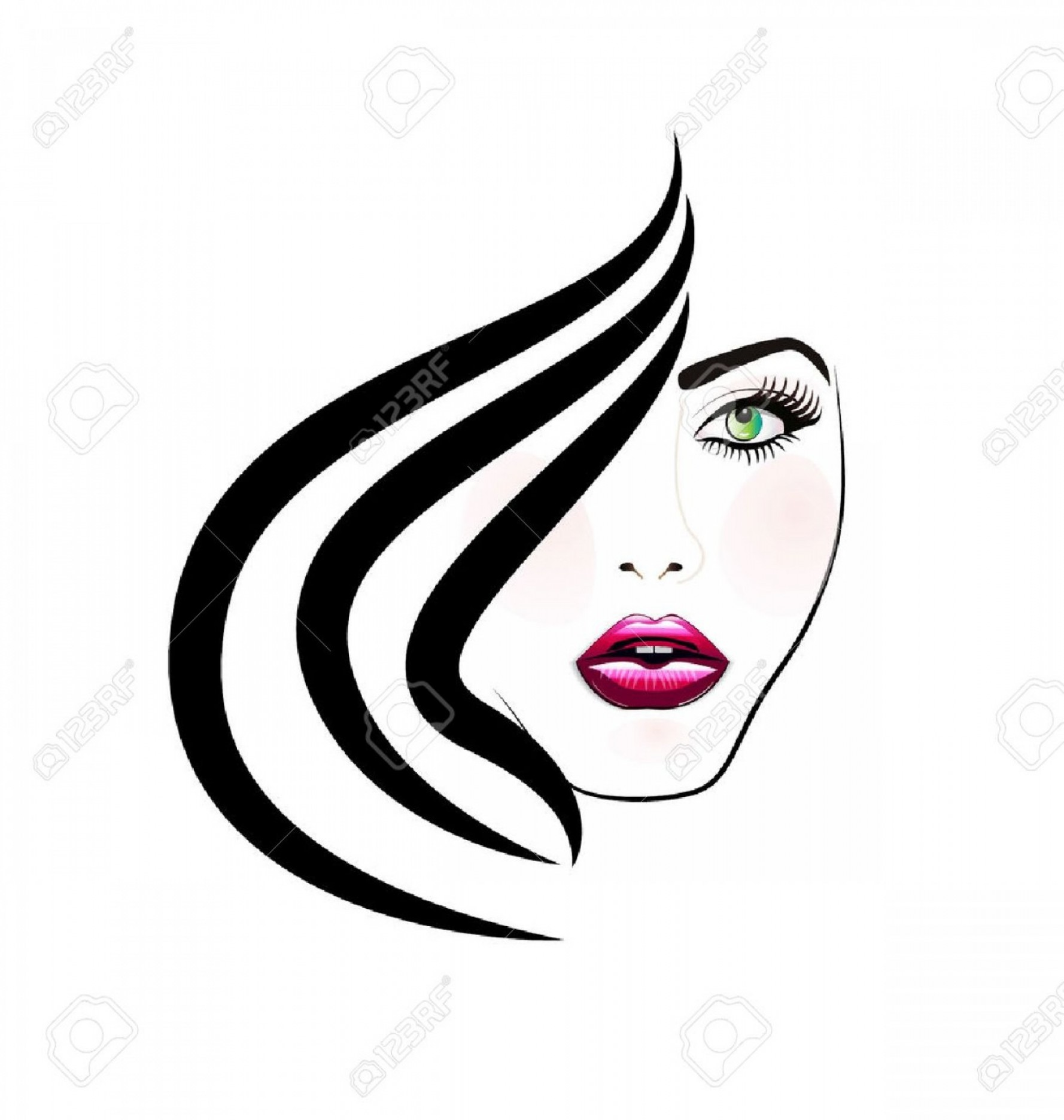 Woman Silhouette Vector Face Expression: Photostock Vector Face Of Pretty Woman Silhouette Icon Image