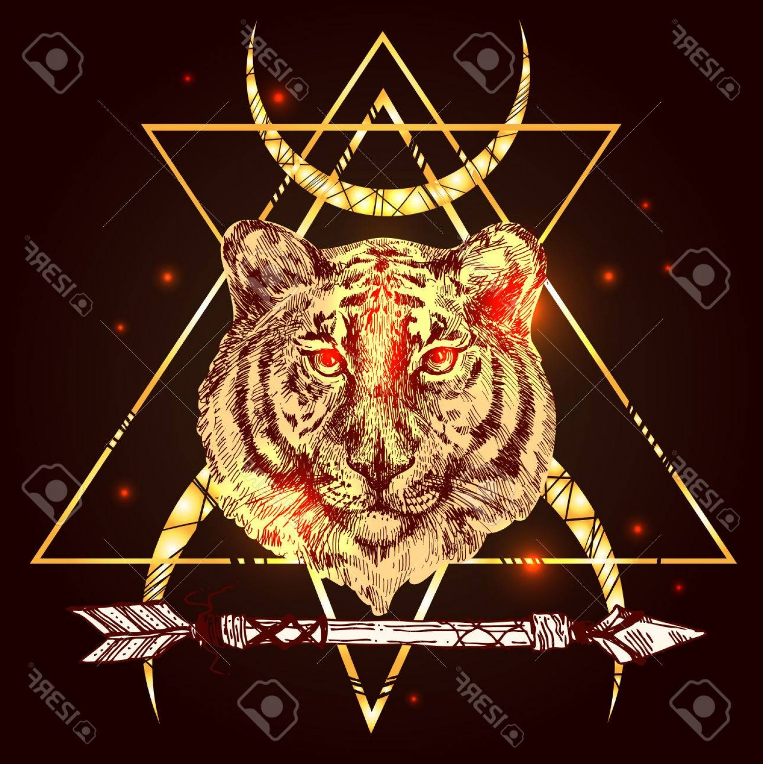 Vector Boho Arrow Strength: Photostock Vector Face Of Tiger Illustration