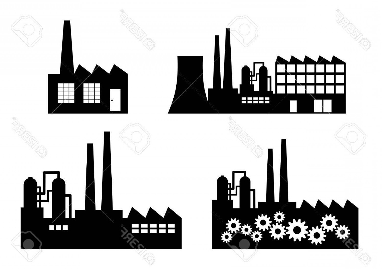 Factory Vector Skyline: Photostock Vector Factory Icons On White Background