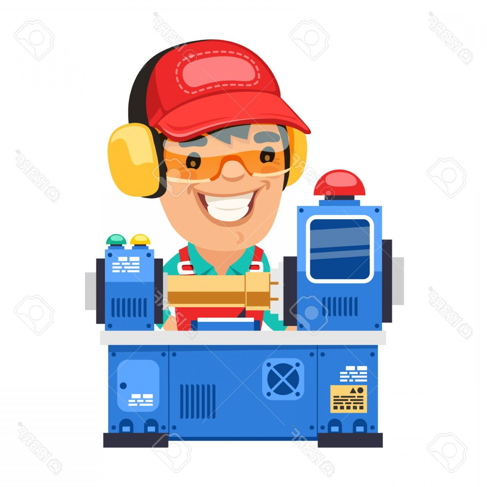 Hand Lathe Vector: Photostock Vector Factory Worker Is Working On Lathe Machine