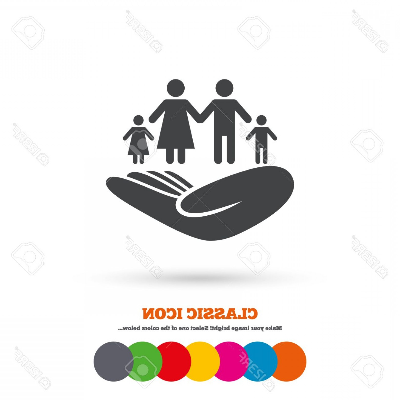 Vector Health Insurance: Photostock Vector Family Life Insurance Sign Hand Holds Human Group Symbol Health Insurance Classic Flat Icon Colored