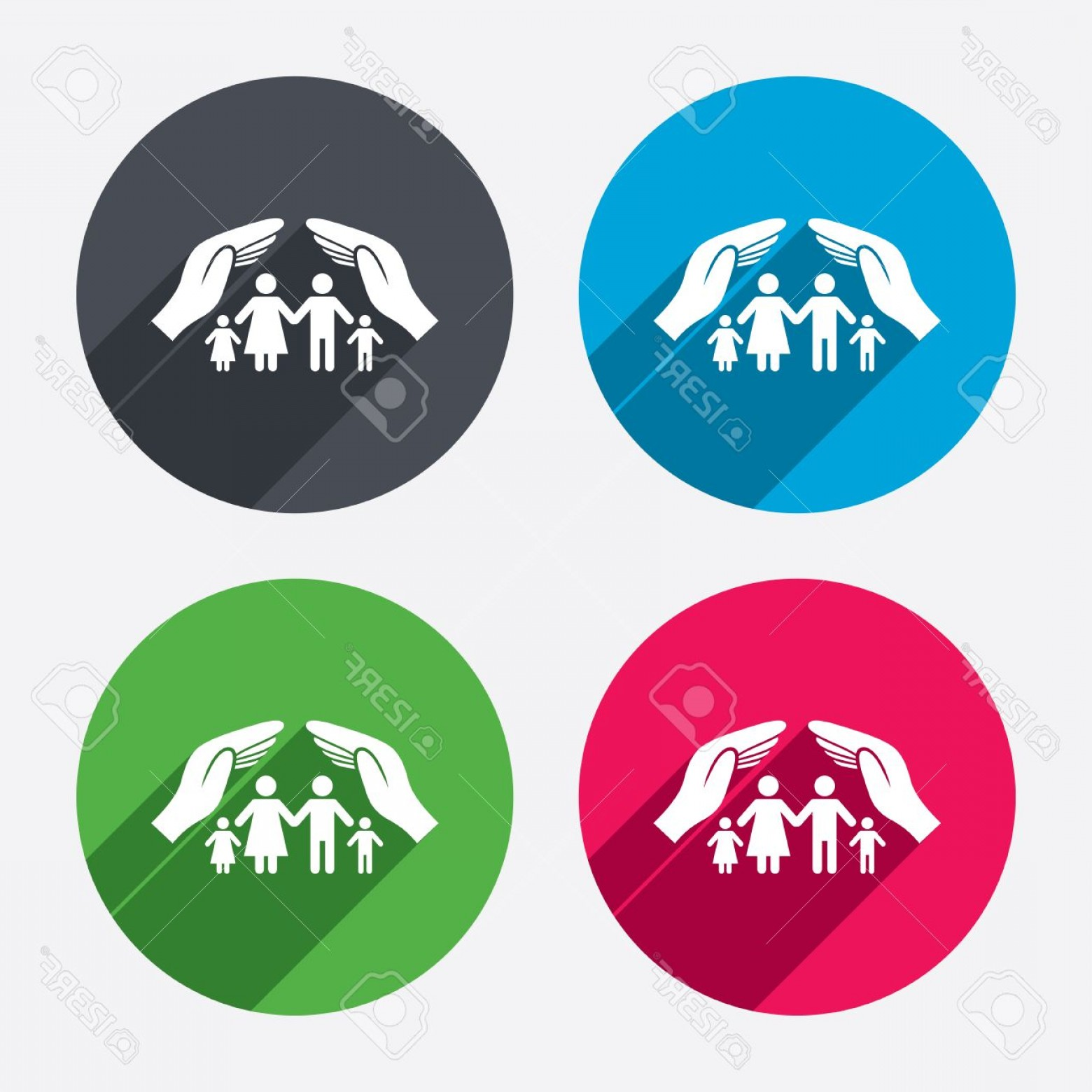 Vector Health Insurance: Photostock Vector Family Life Insurance Sign Icon Hands Protect Human Group Symbol Health Insurance Circle Buttons Wit