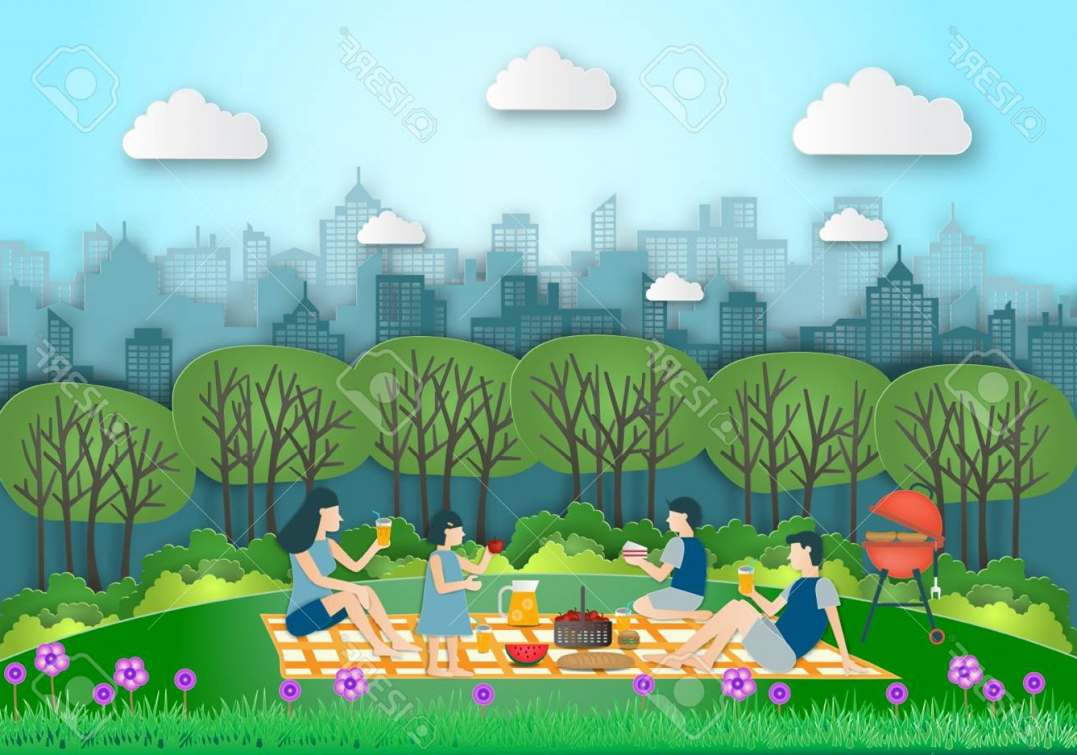 Picnic Vector Scenery: Photostock Vector Family Making Picnic On City Park Outdoor Dad Mom Son And Daughter Are Resting In Nature The Park Wa