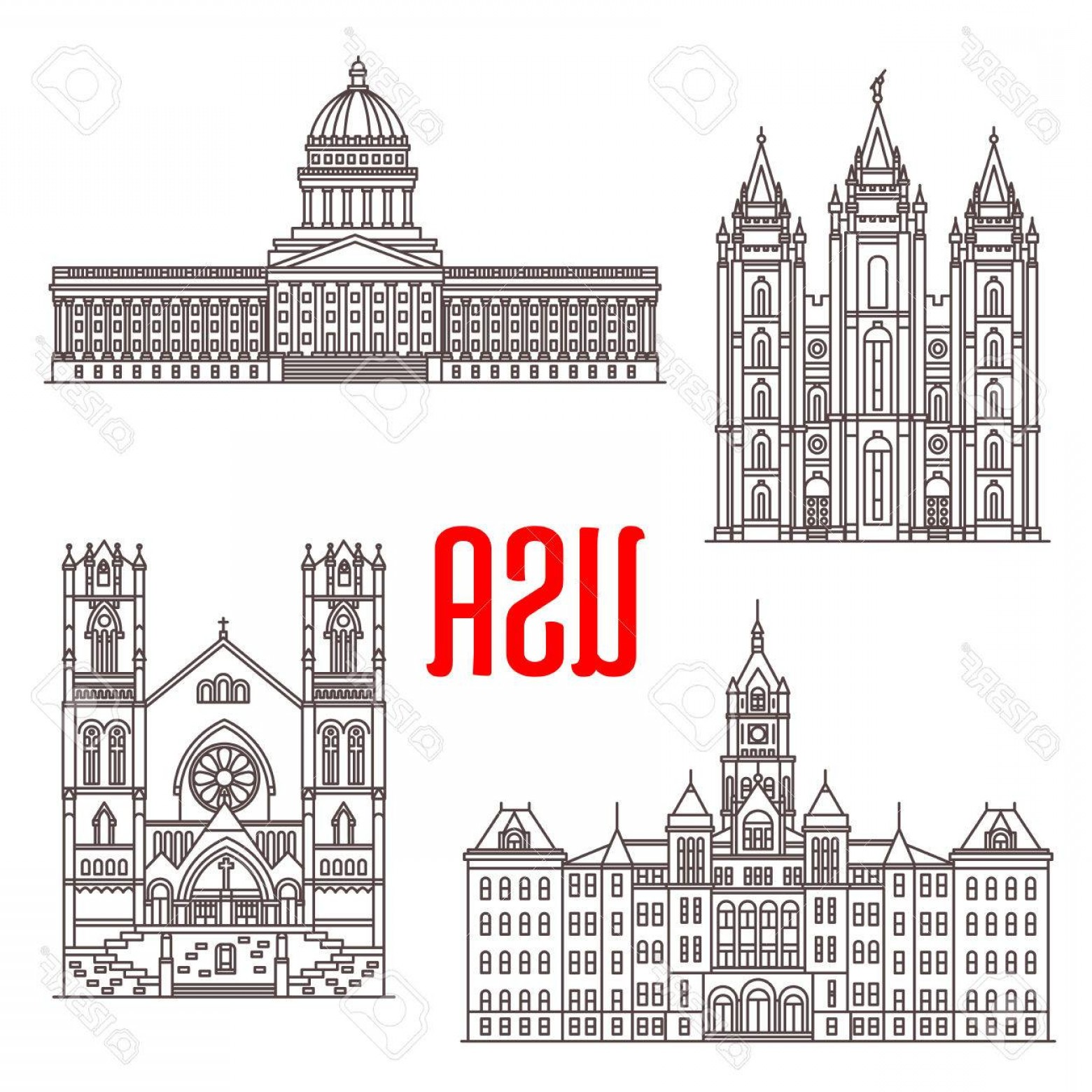 Salt Lake City Temple Vector: Photostock Vector Famous Buildings Symbols And Icons Of Us Salt Lake Temple Utah State Capitol Salt Lake City And Coun
