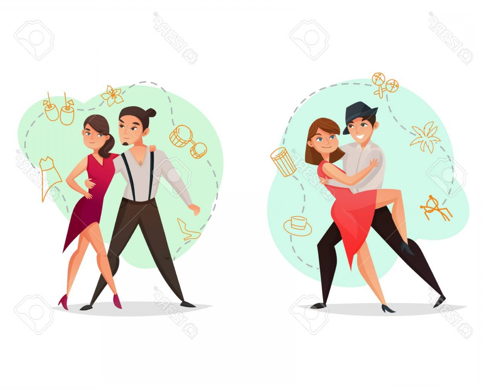 Vector Styles: Photostock Vector Famous Dance Styles Web Templates Set With Pairs Tango And Salsa Moves Retro Isolated Vector Illus